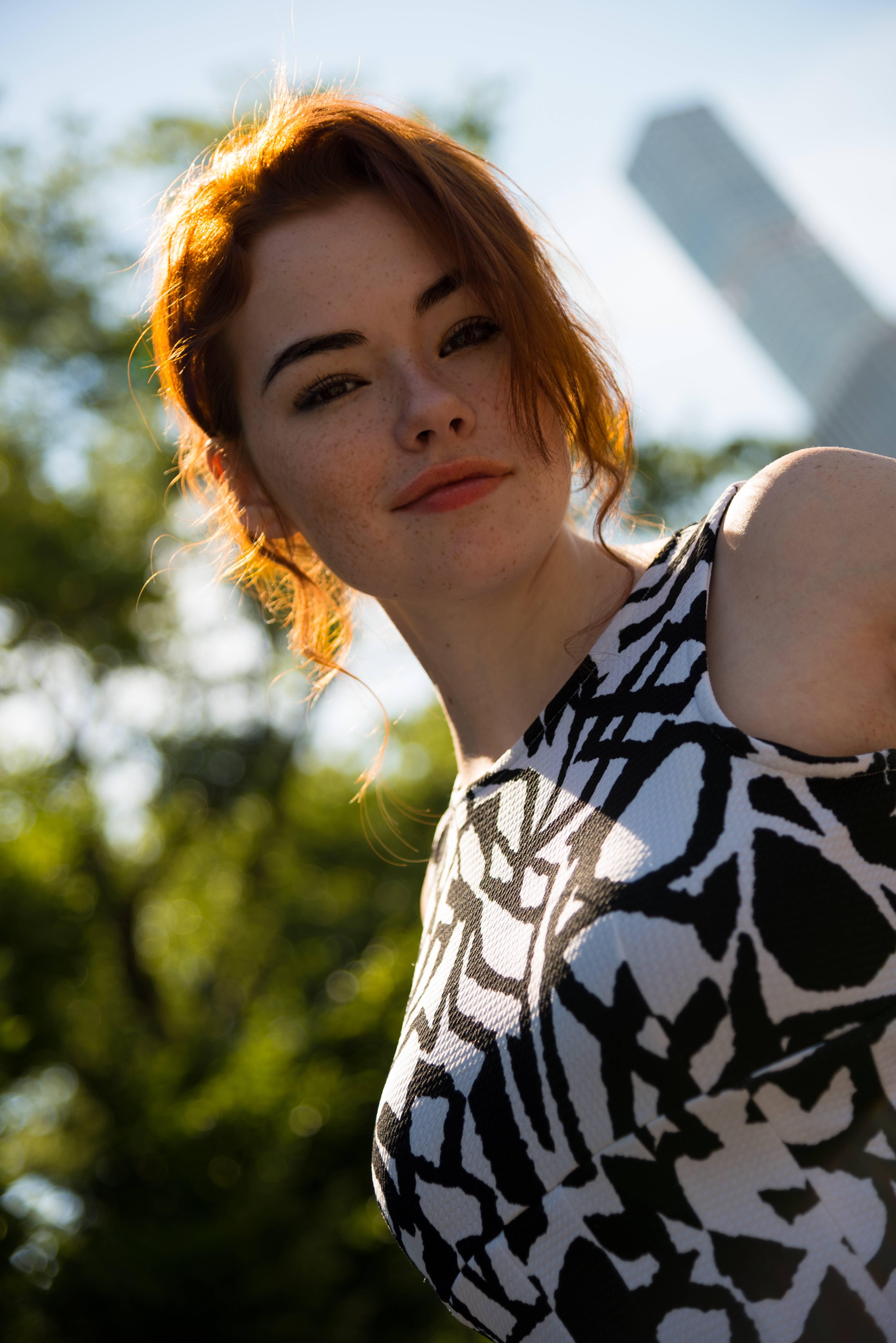 People 4016x6016 women outdoors redhead model portrait display Sabrina Lynn freckles depth of field face