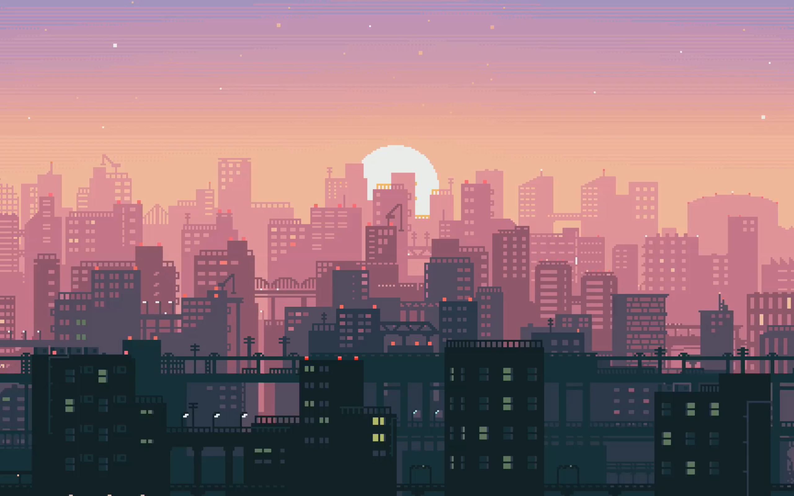 General 2560x1600 sunset pixel art pixels city sky skyline 16-bit