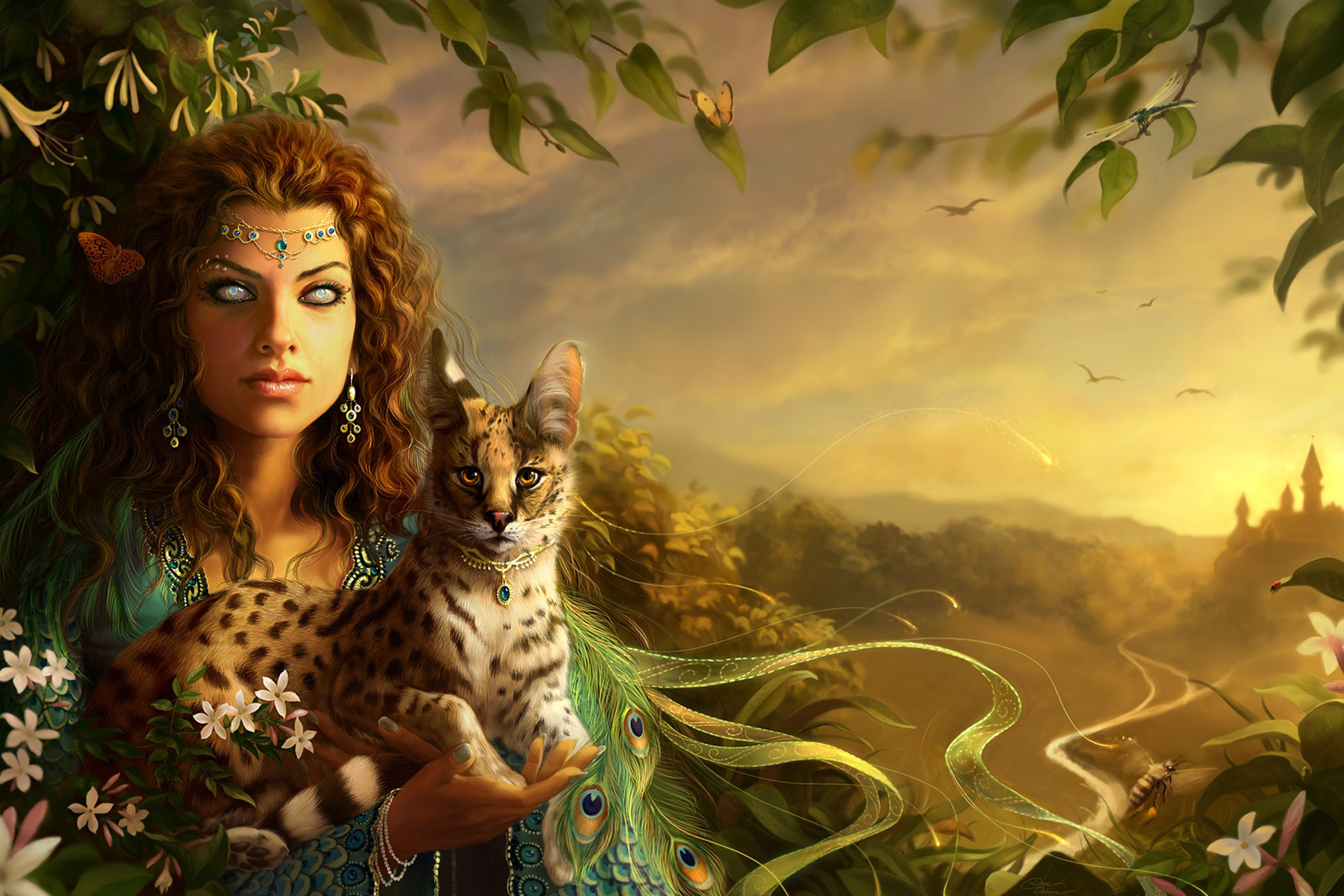 General 1800x1200 artwork cats animals fantasy art fantasy girl