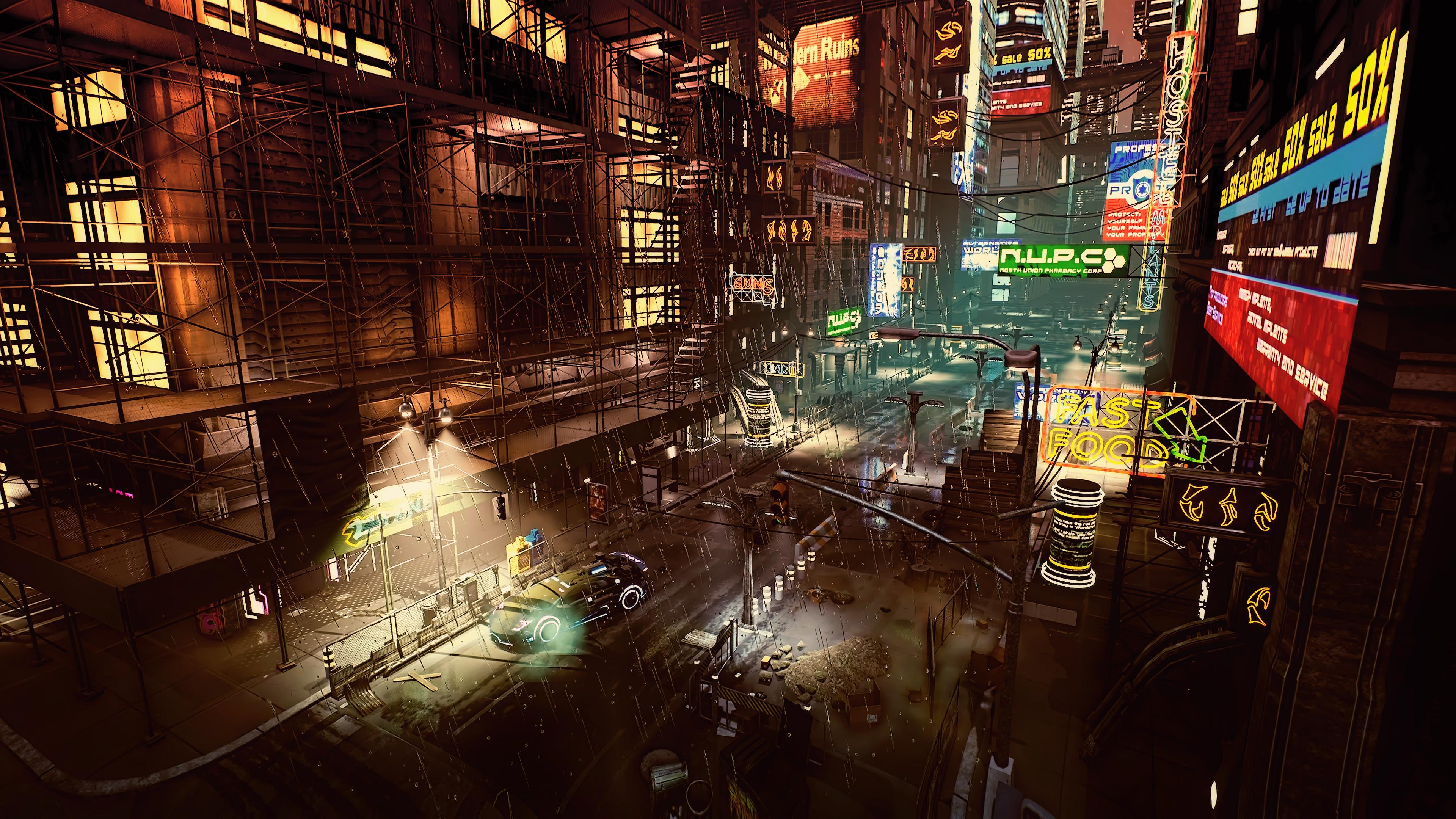 General 3840x2160 cyber science fiction digital art concept art cyberpunk artwork futuristic fantasy art fan art 3D PC gaming CGI sunset futuristic city cityscape