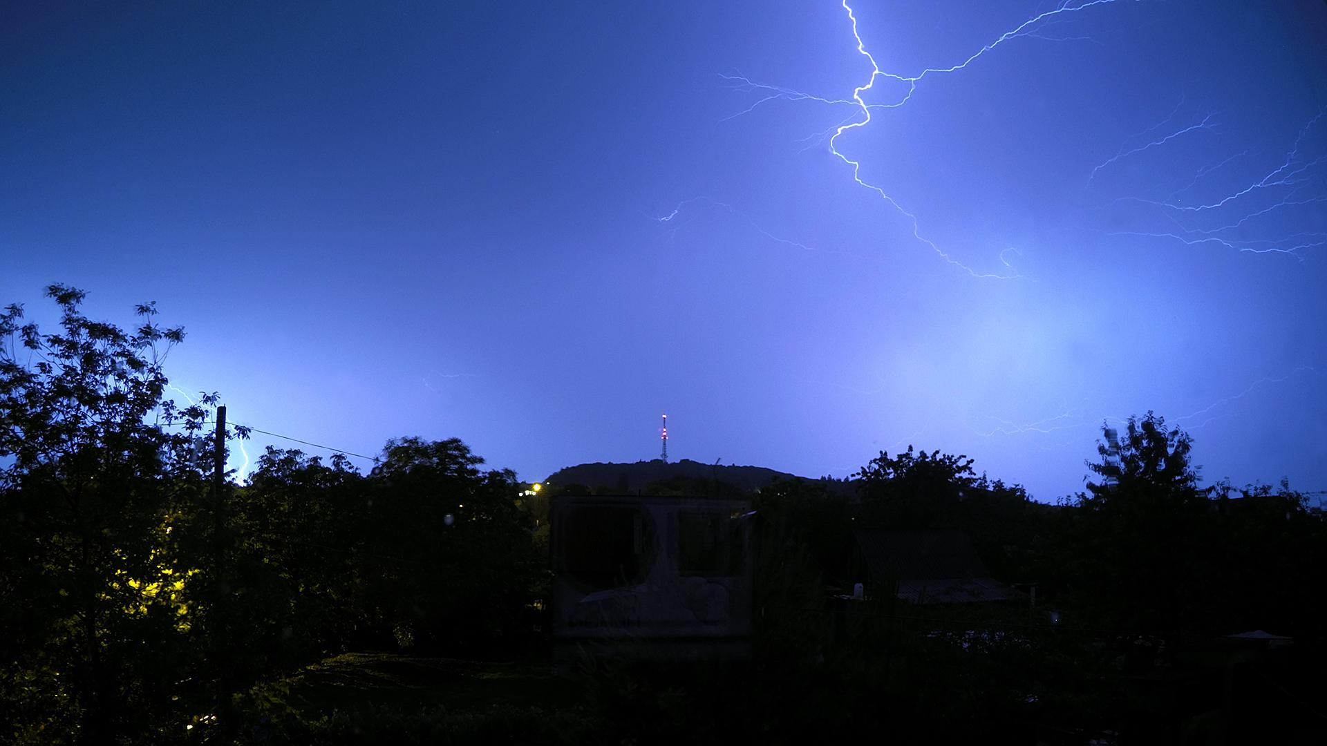 General 1920x1080 lightning night sky tower radio tower hills Ukraine trees nature storm