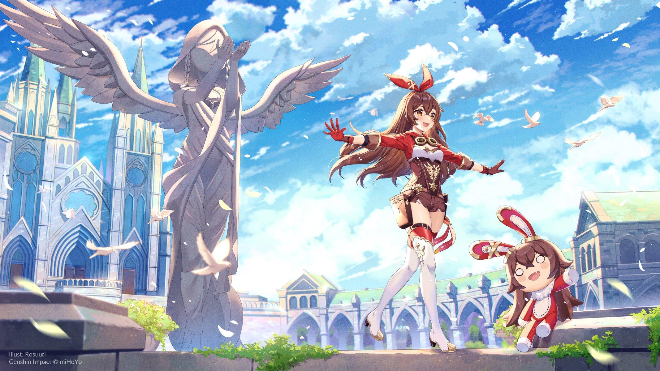Anime 2133x1200 anime anime girls digital art artwork 2D portrait Genshin Impact Amber (Genshin Impact) fantasy city brunette statue brown eyes thigh-highs short shorts Rosuuri