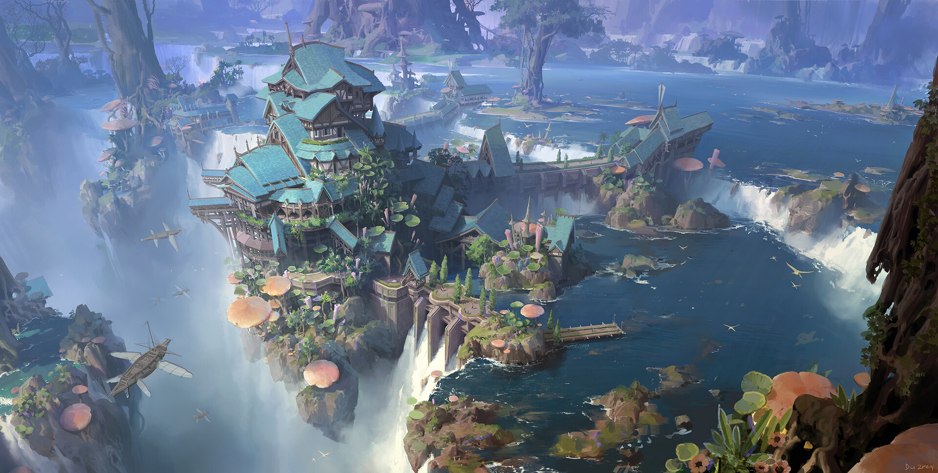 General 1920x968 cliff waterfall digital art ship fantasy art mushroom river city fantasy city fantasy architecture lok du