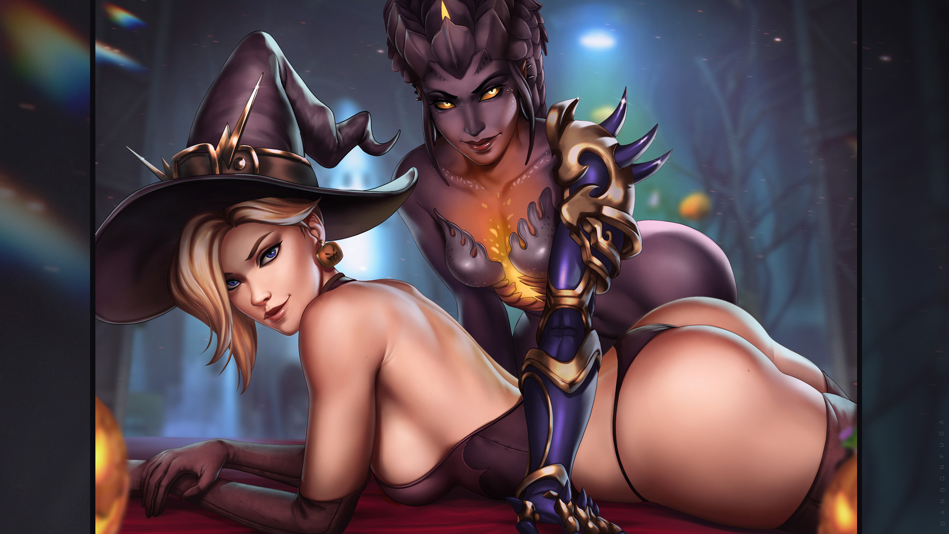 General 1920x1080 dandon fuga Overwatch Mercy (Overwatch) Symmetra (Overwatch) Witch Mercy looking at viewer ass