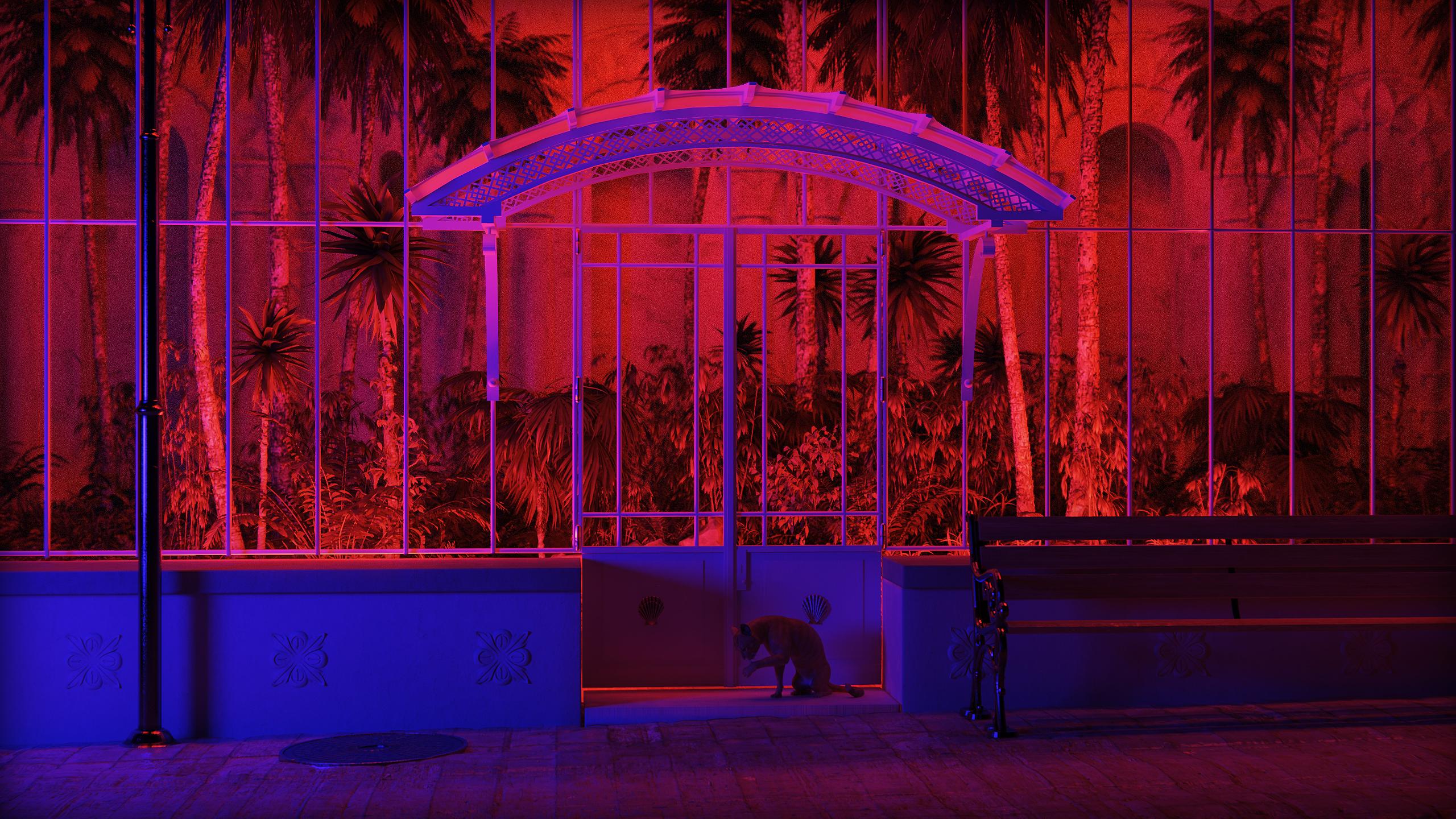 General 2560x1440 3D graphics 3d design CGI digital art architecture park bench neon neon lights plants palm trees yucca bamboo fence cobblestone