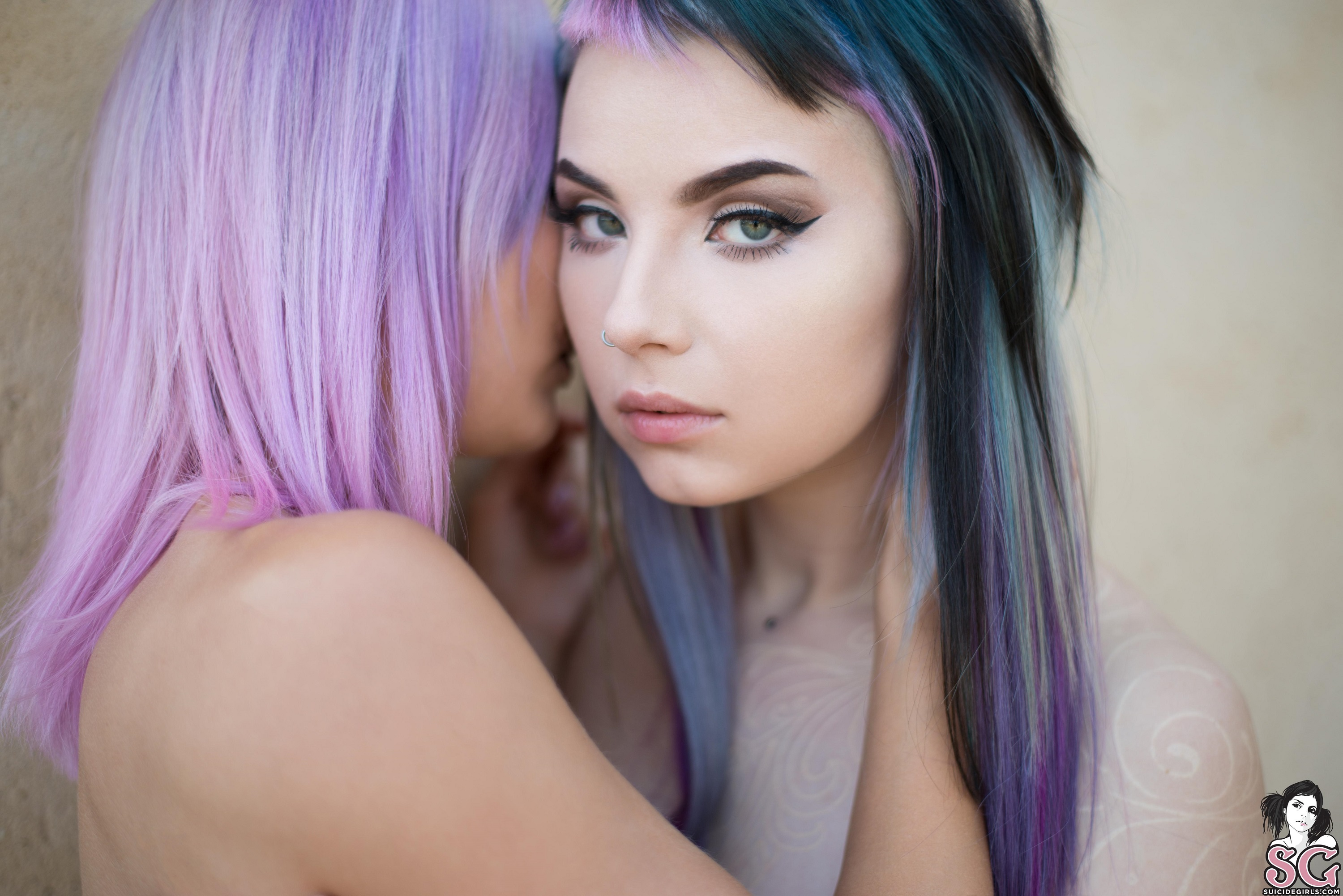 People 3000x2002 Indigo Suicide Karanlit Suicide women model outdoors dyed hair scarification nose rings face Suicide Girls fringe hair looking at viewer