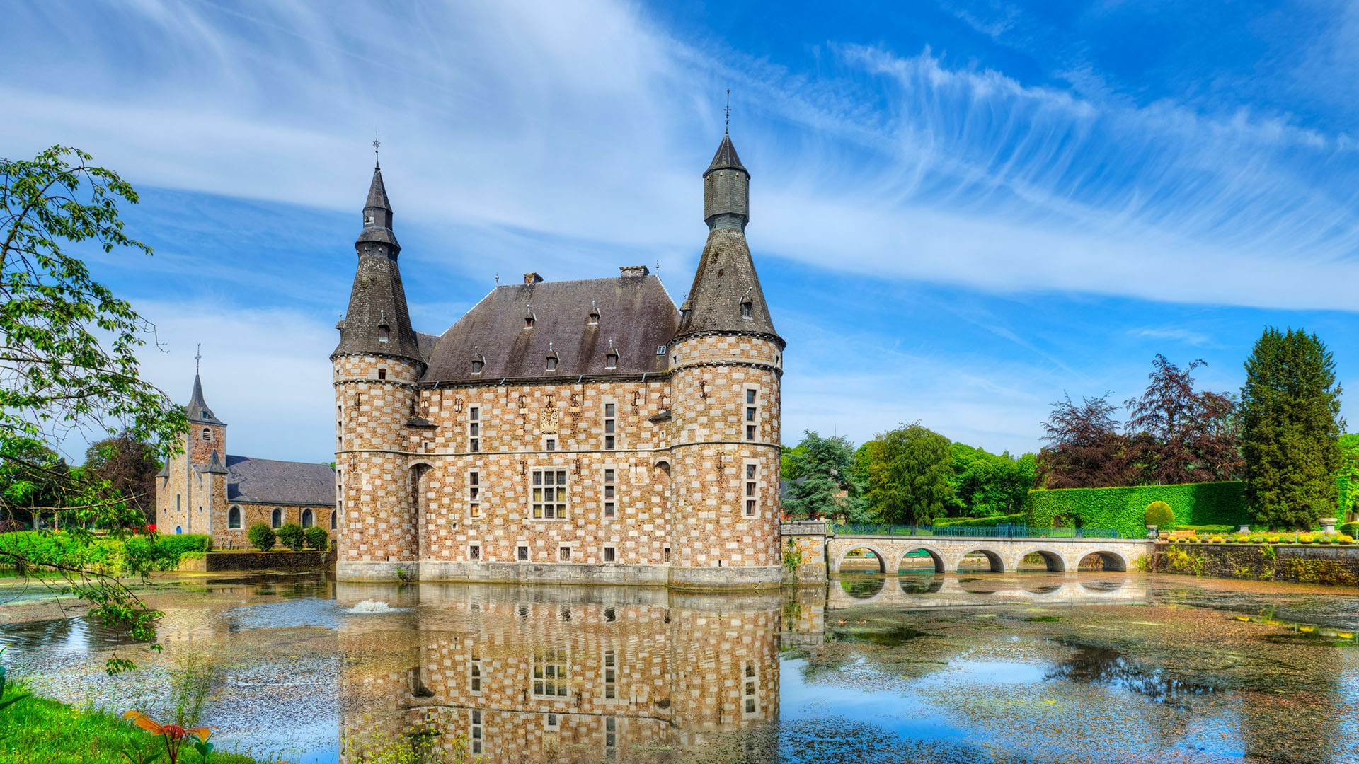 General 1920x1080 landscape castle architecture clouds sky trees Moated Jehay Castle Belgium