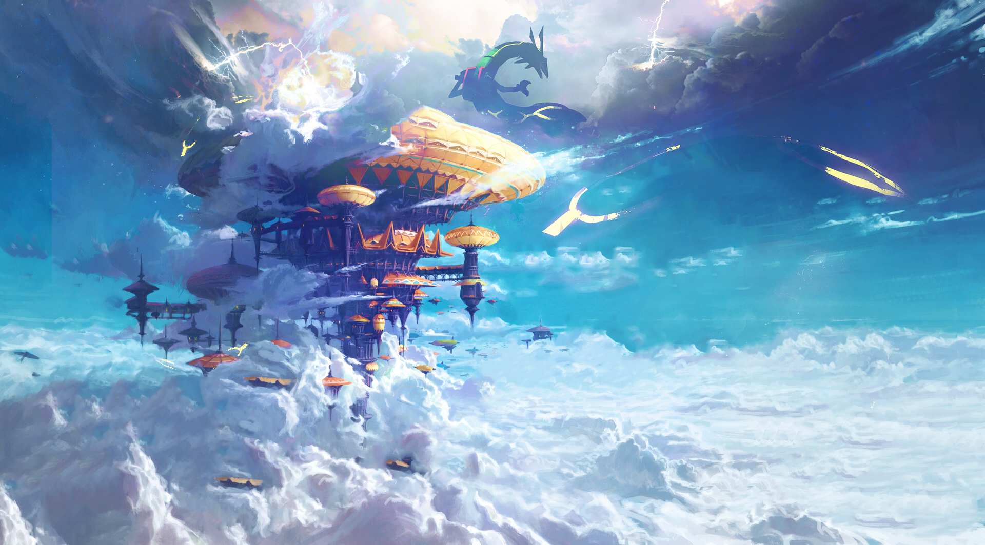 General 1920x1063 clouds Rayquaza Pokémon anime digital art sky blue