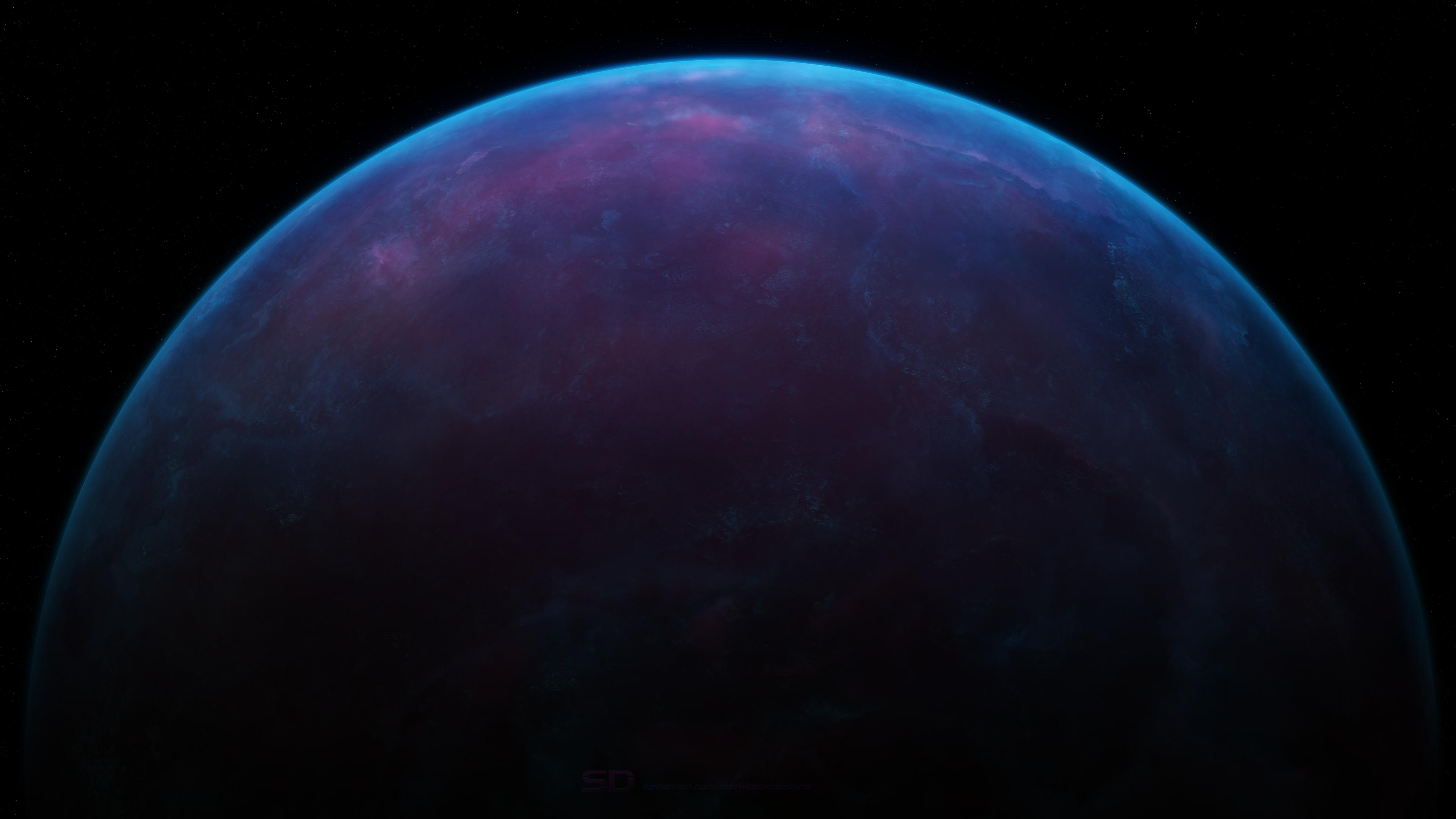 General 3840x2160 Starkiteckt space blue space art planet digital art