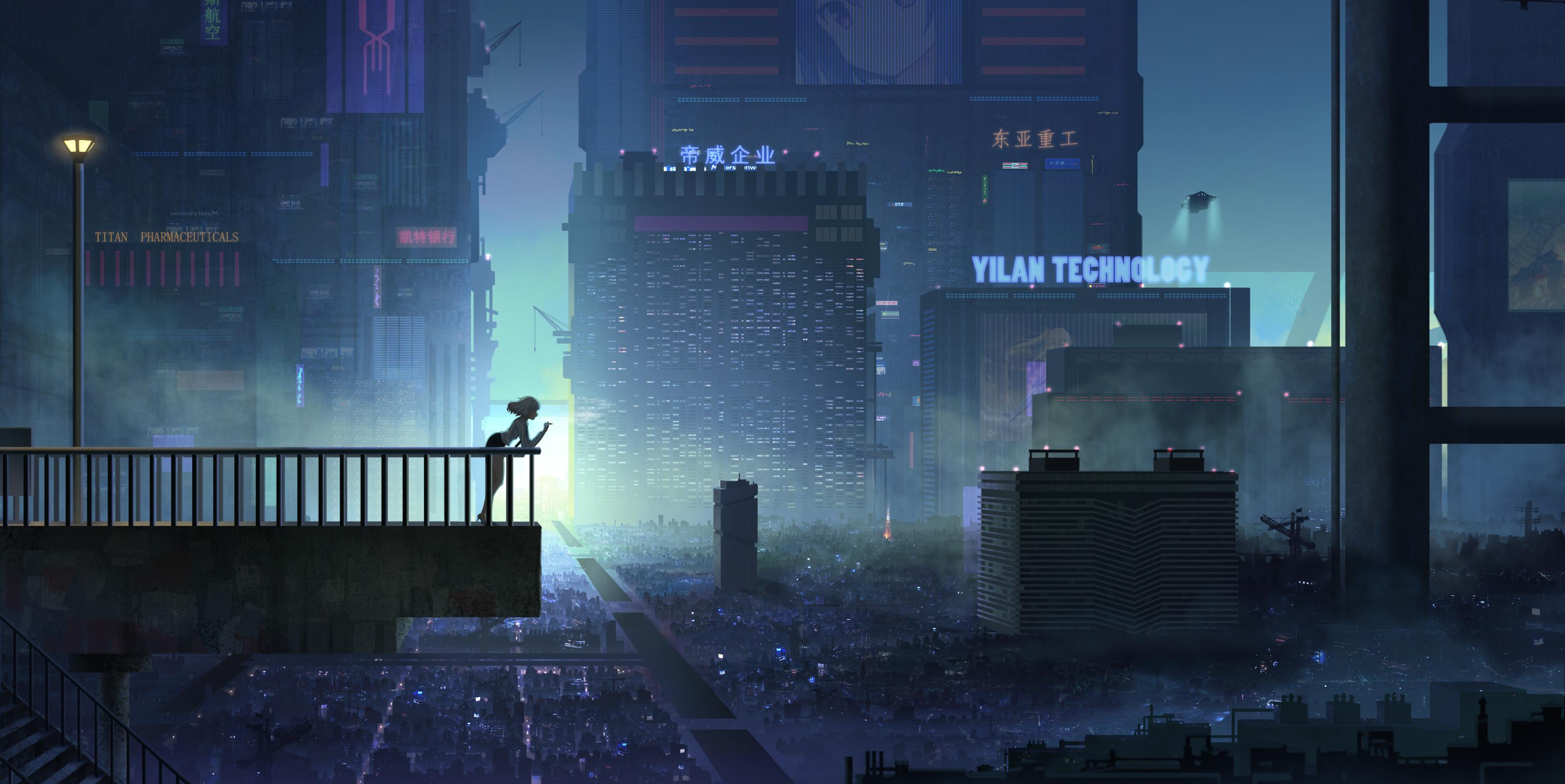 Anime 3200x1604 cyberpunk smoking city fence stairs city lights anime billboards futuristic futuristic city