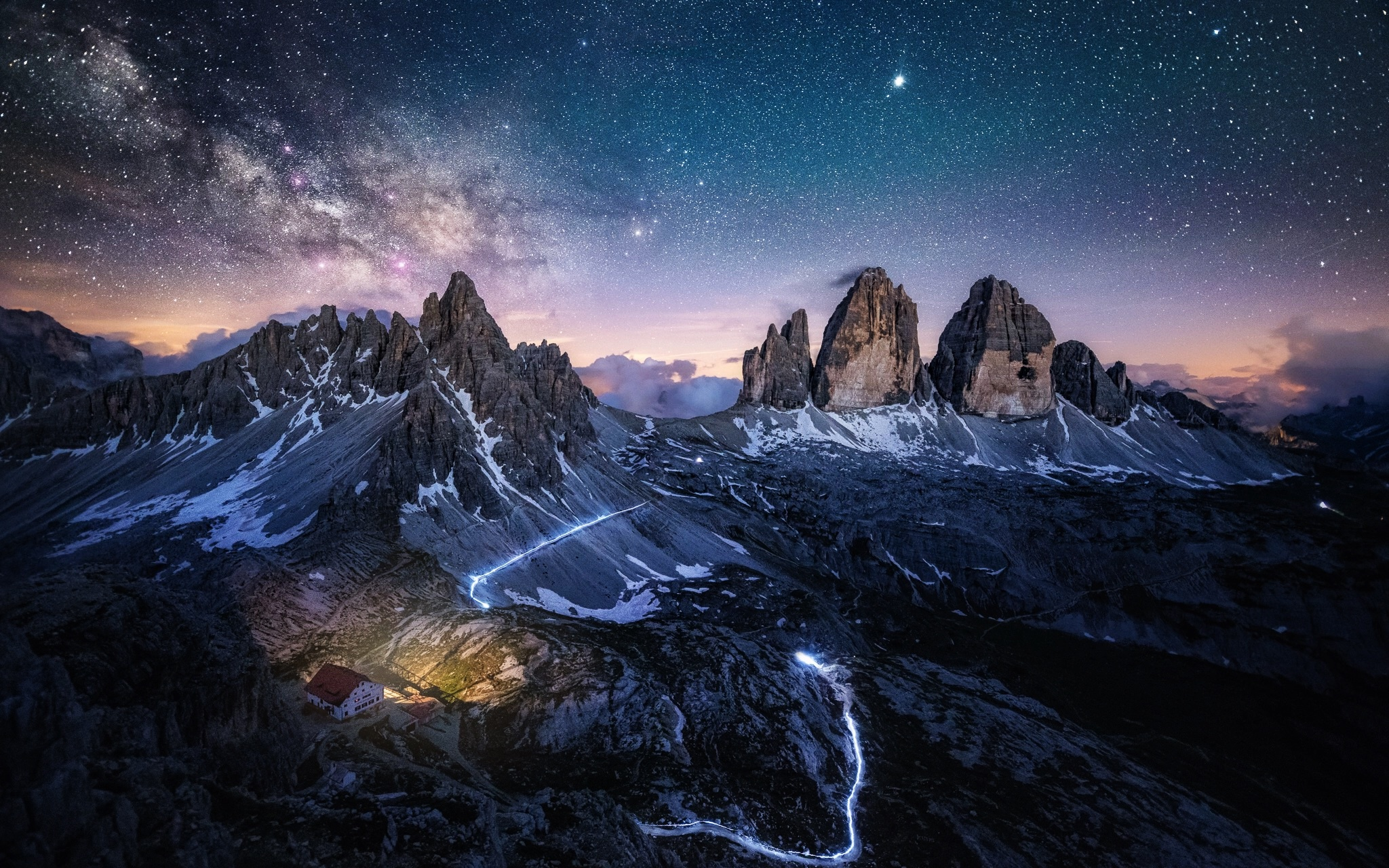 General 2048x1280 mountains nature landscape sky stars night sky