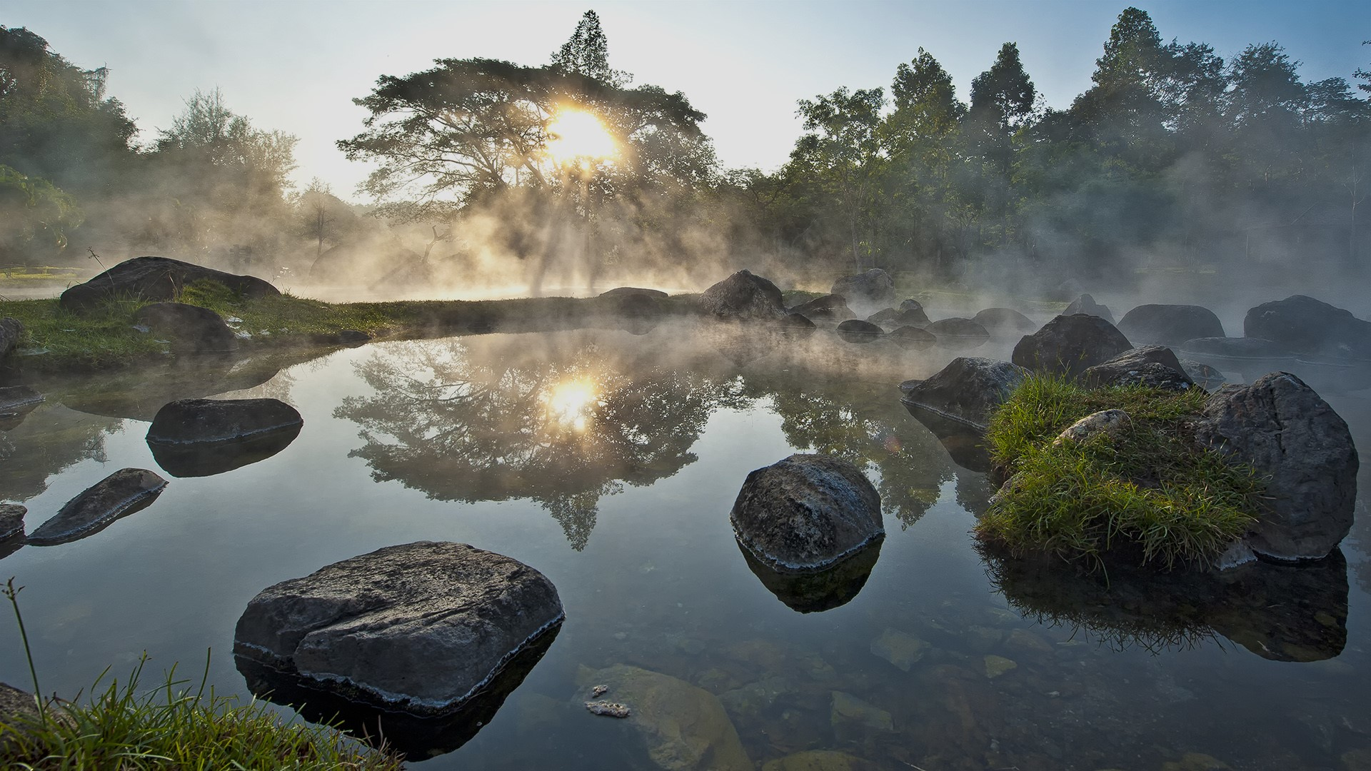 General 1920x1080 nature landscape trees water rocks reflection plants grass mist sky Sun sun rays morning Chae Son National Park Thailand