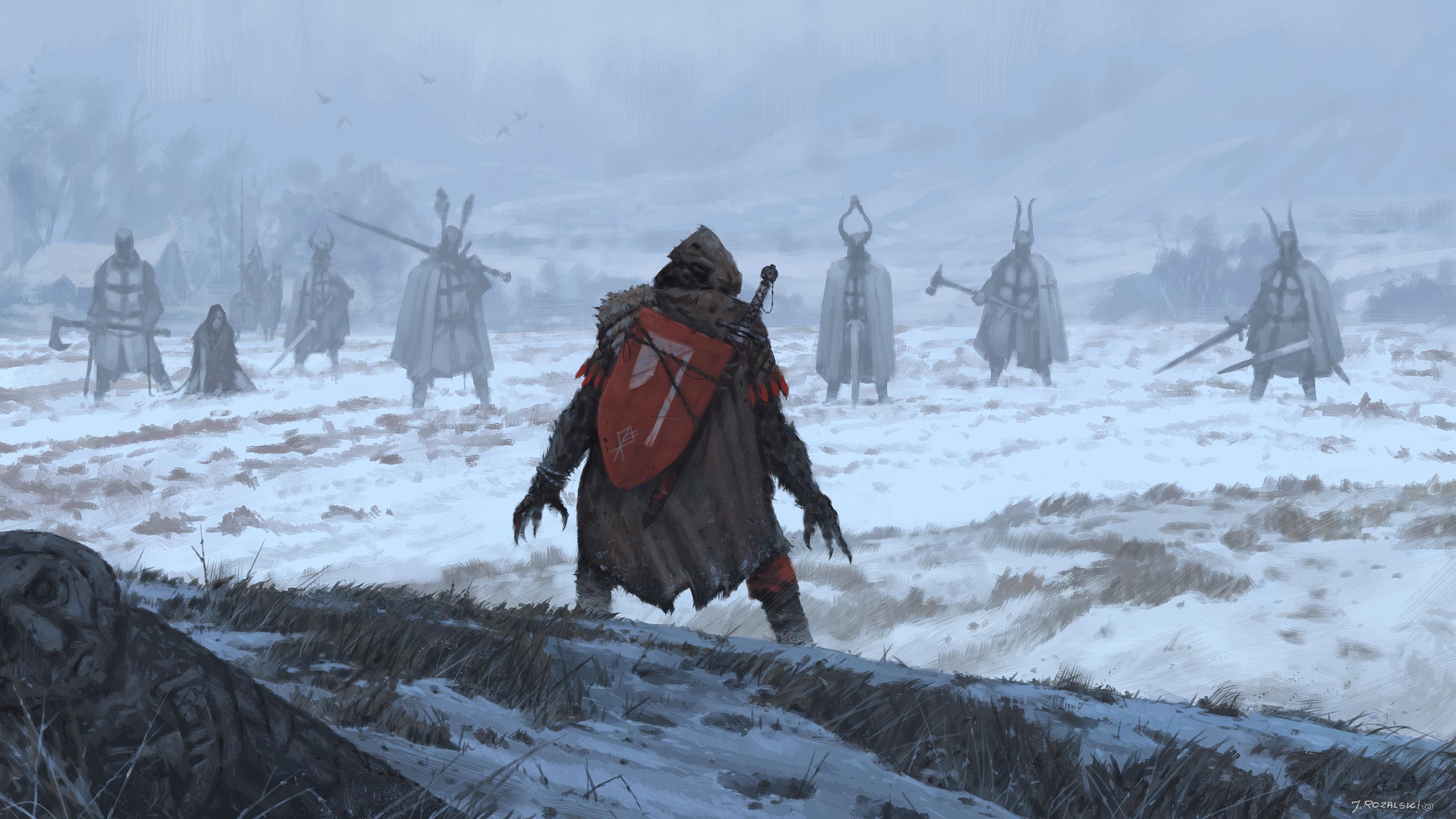 General 3840x2159 knight Knights Templar viking digital digital art fantasy art illustration painting Werewolf werewolves Teutonic Order winter concept art dark dark fantasy
