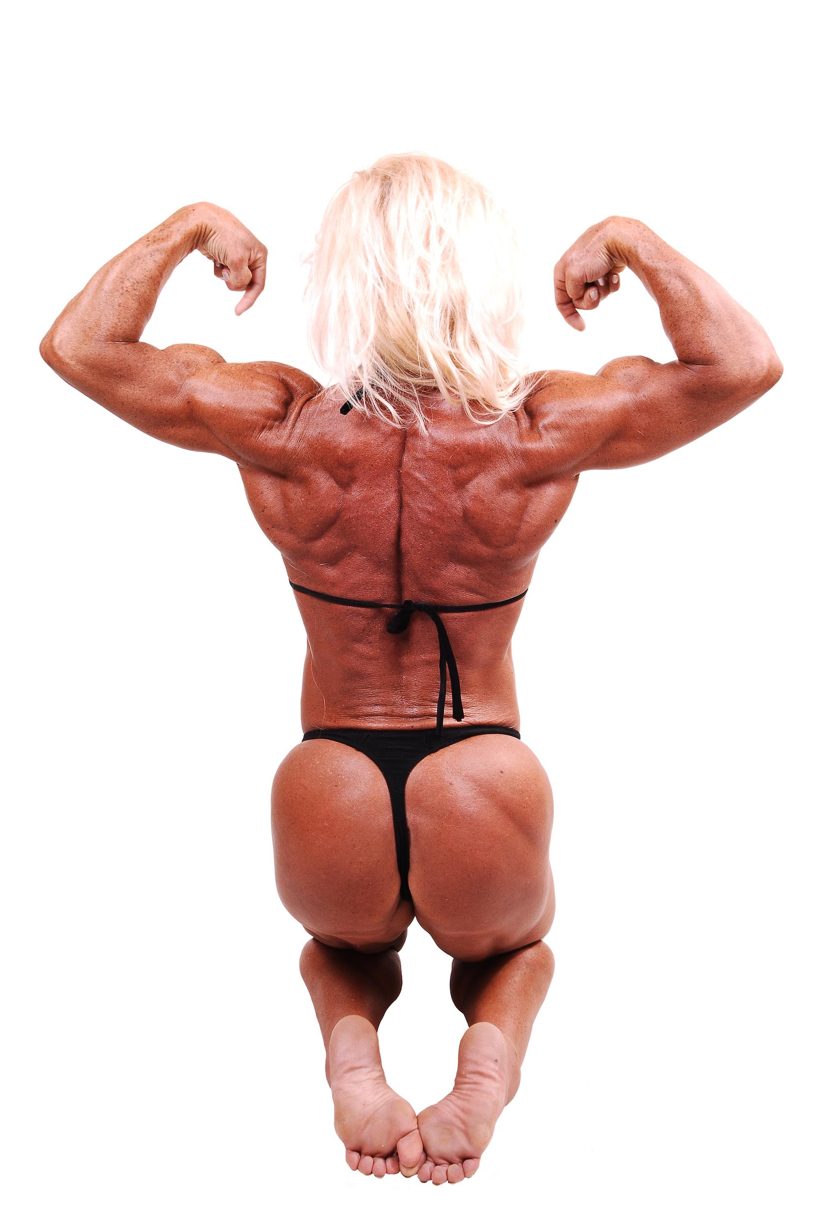 People 1661x2500 women white background bodybuilder glutes back muscular blonde flexing bikini barefoot muscles