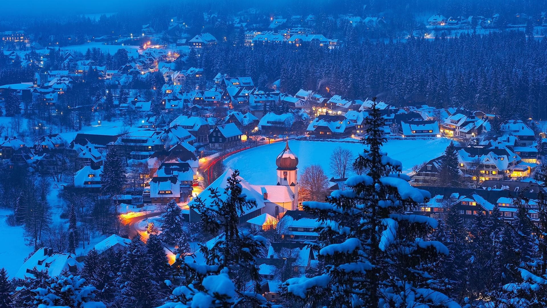 General 1920x1080 Hinterzarten Black forest Baden-Württemberg Germany snow snow covered city night winter blue