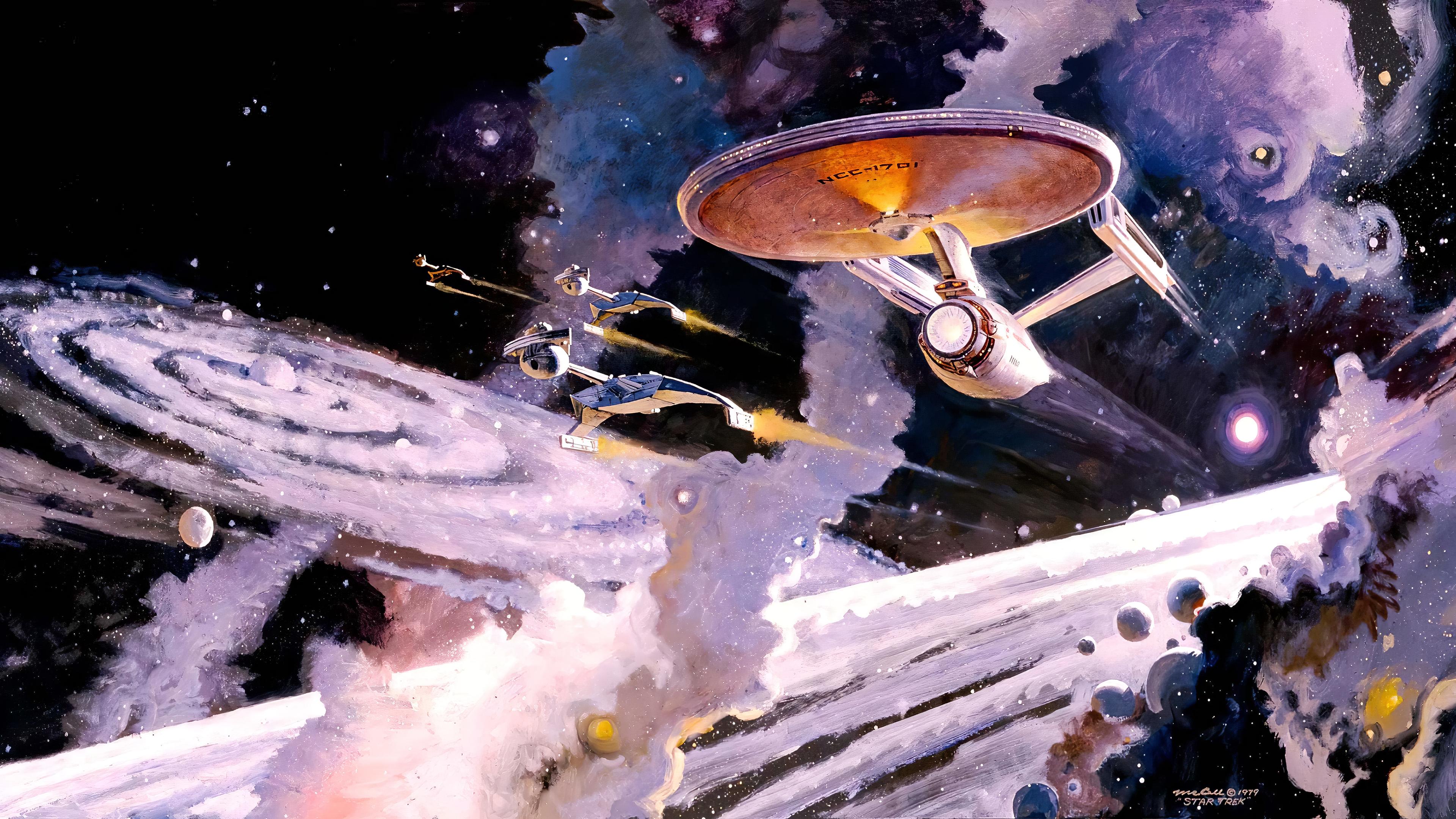 General 3840x2160 painting artwork space universe Star Trek ncc-1701 spaceship galaxy Klingon Star Trek: Enterprise