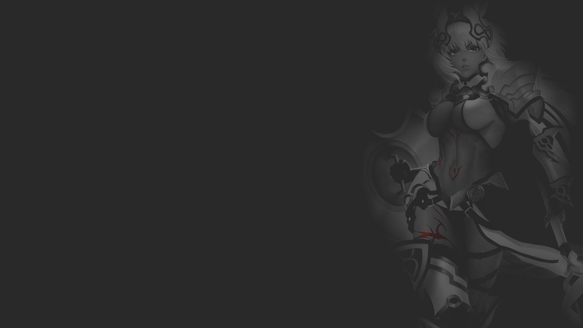 Anime 1920x1080 anime anime girls illustration fan art minimalism monochrome dark background selective coloring texture Fate Series Fate/Grand Order Caenis yamaneko (tkdrumsco) ecchi uniform armor knight warrior boobs animal ears