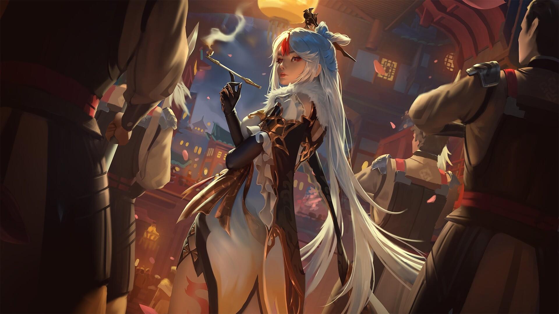 General 1920x1080 artwork fantasy art fantasy girl long hair standing red eyes ArtStation raikoart Genshin Impact Ningguang (Genshin Impact) white hair hairpin Chinese clothing gloves tattoo