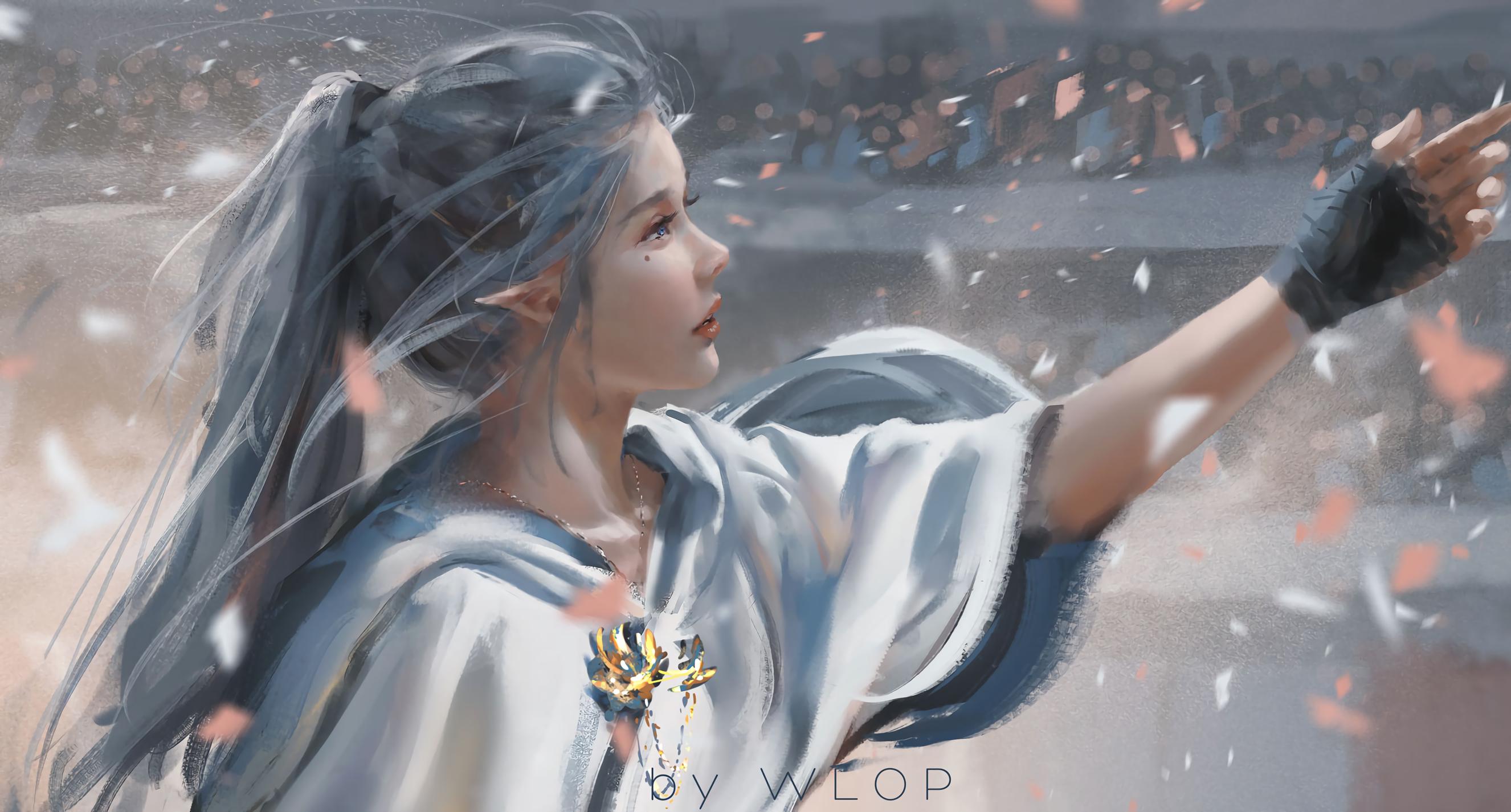General 2652x1426 digital art artwork WLOP women white hair pointy ears blue eyes elves