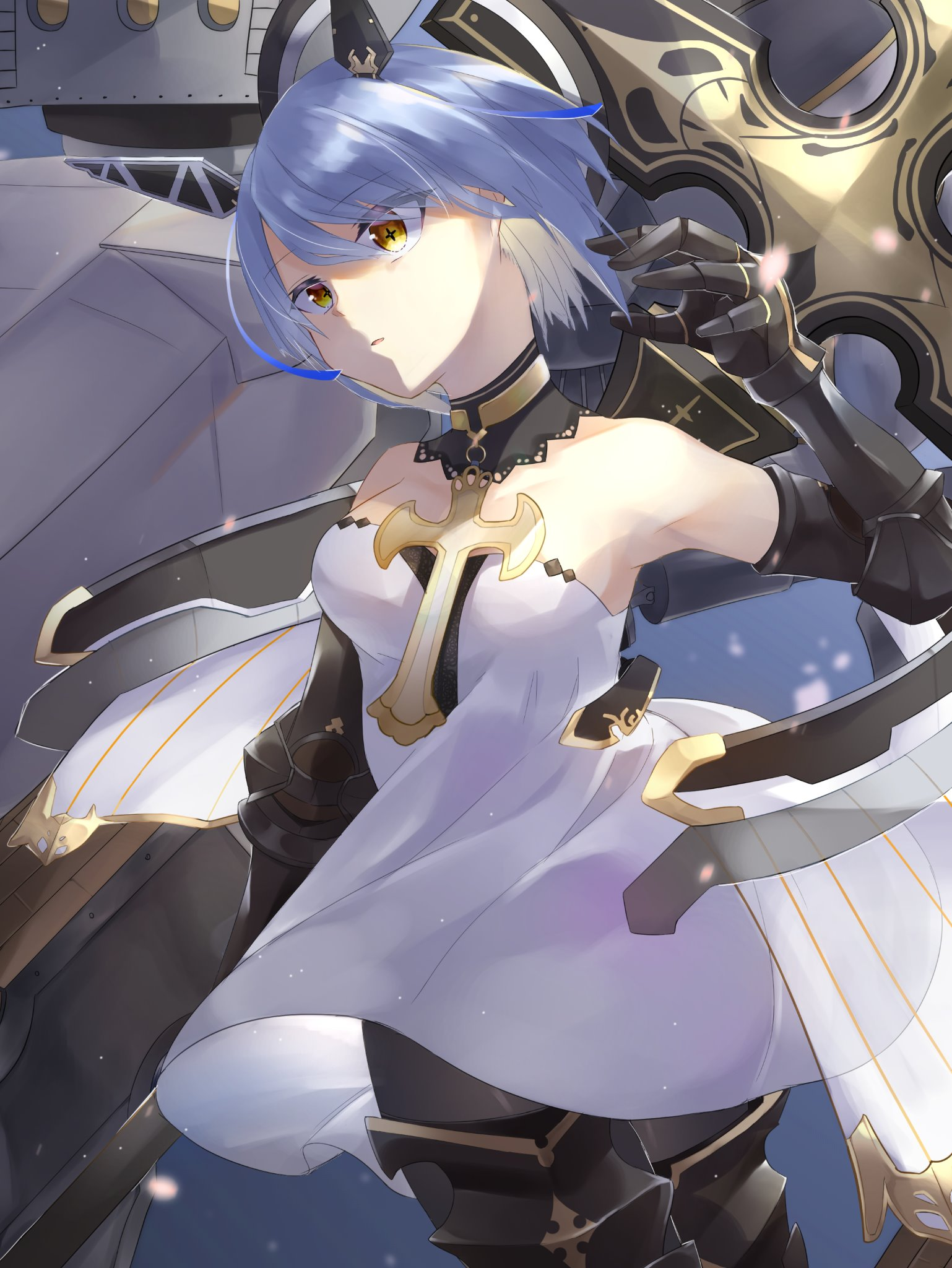 Anime 1538x2048 anime anime girls vertical portrait display short hair blue hair yellow eyes armor lance Azur Lane digital art