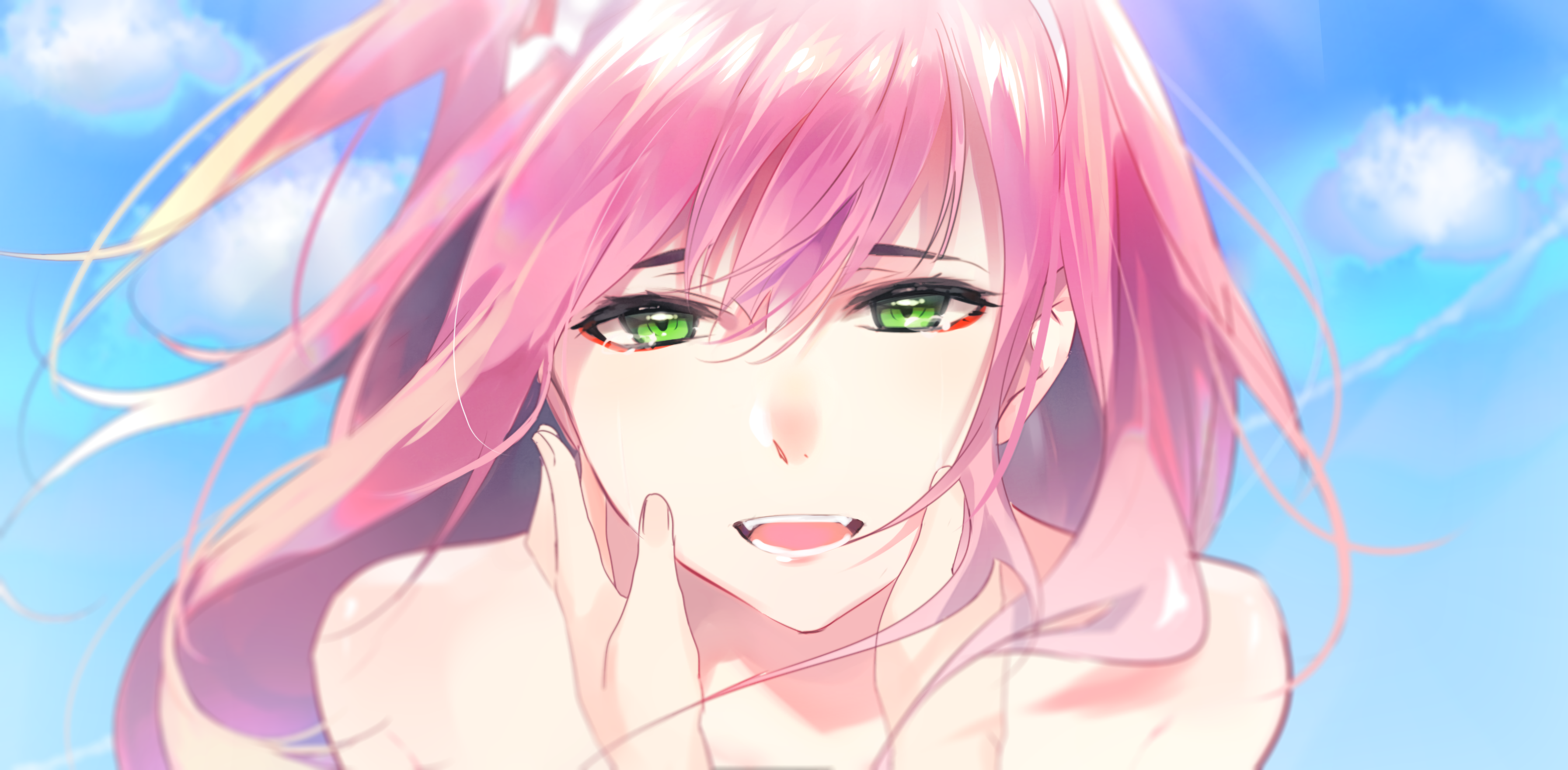 Anime 3586x1762 Zero Two (Darling in the FranXX) Code:002 Strelizia (DARLING in the FRANXX) Strelitzia Darling in the FranXX anime anime girls green eyes pink hair long hair fangs