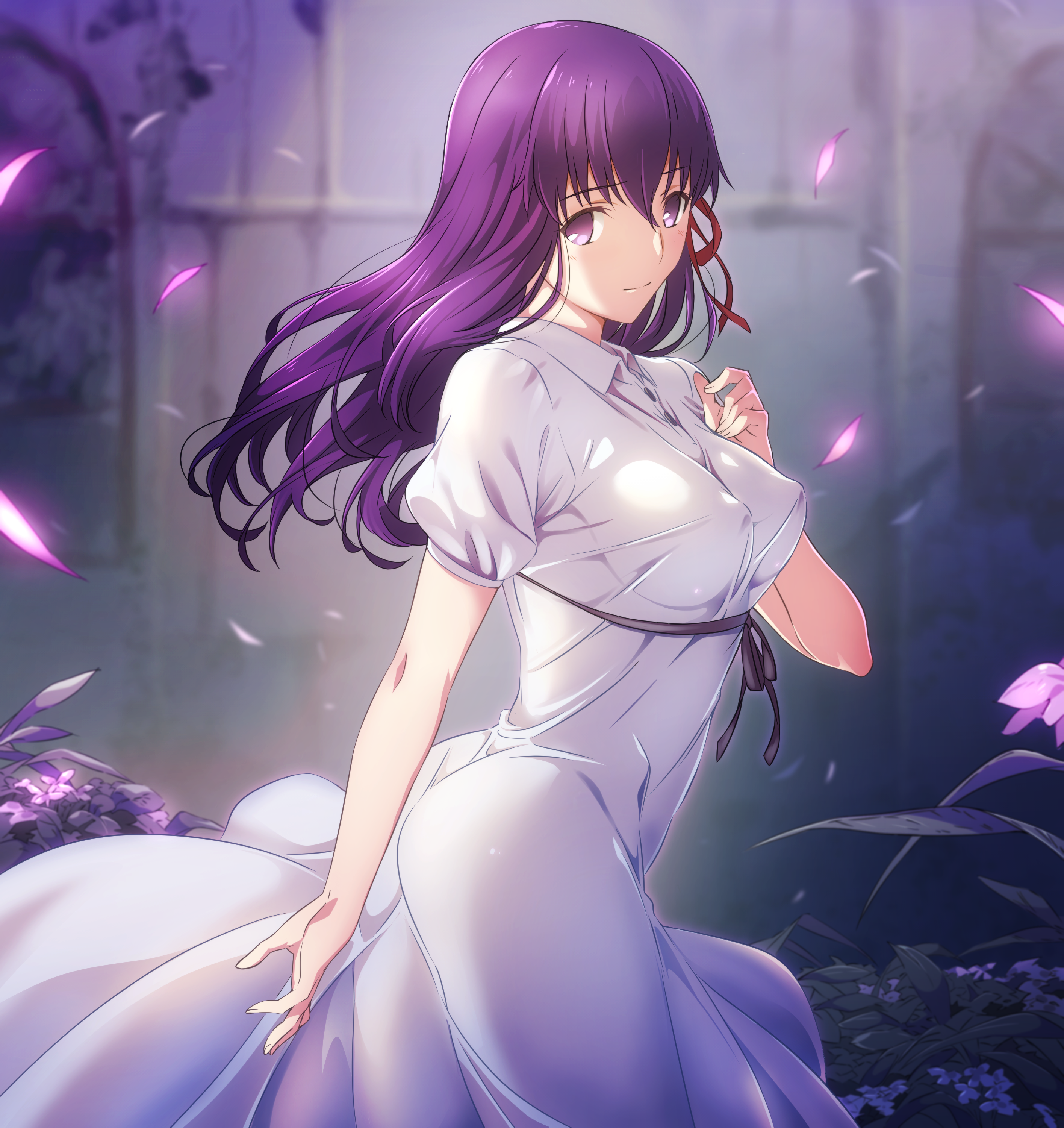 Anime 2831x3000 Fate Series Fate/Stay Night fate/stay night: heaven's feel anime girls digital art long hair violet hair violet eyes white dress big boobs ribbon Sakura Matou