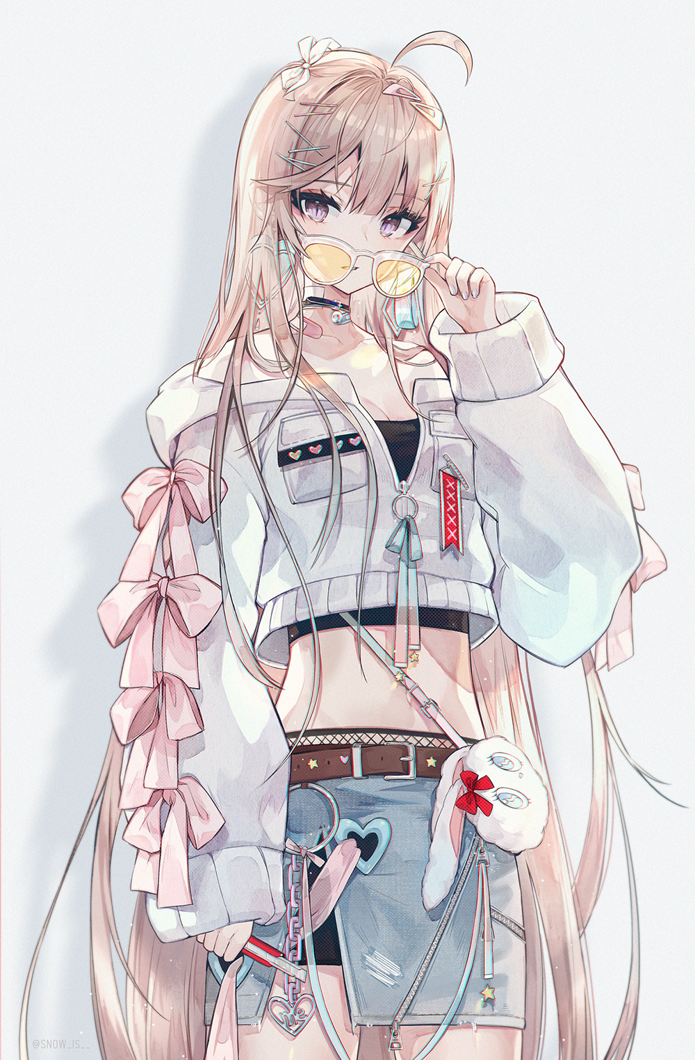 Anime 1000x1525 anime anime girls digital art artwork simple background vertical portrait display long hair blonde blue eyes jacket skirt sunglasses original characters