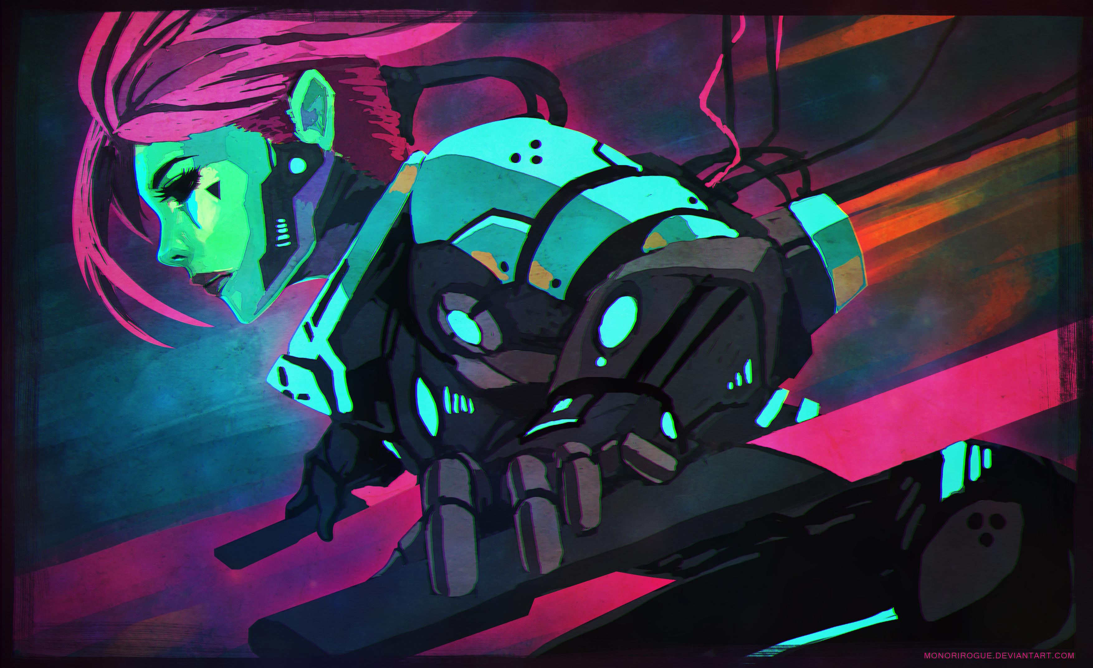 General 3508x2144 cyberpunk cyborg digital art futuristic