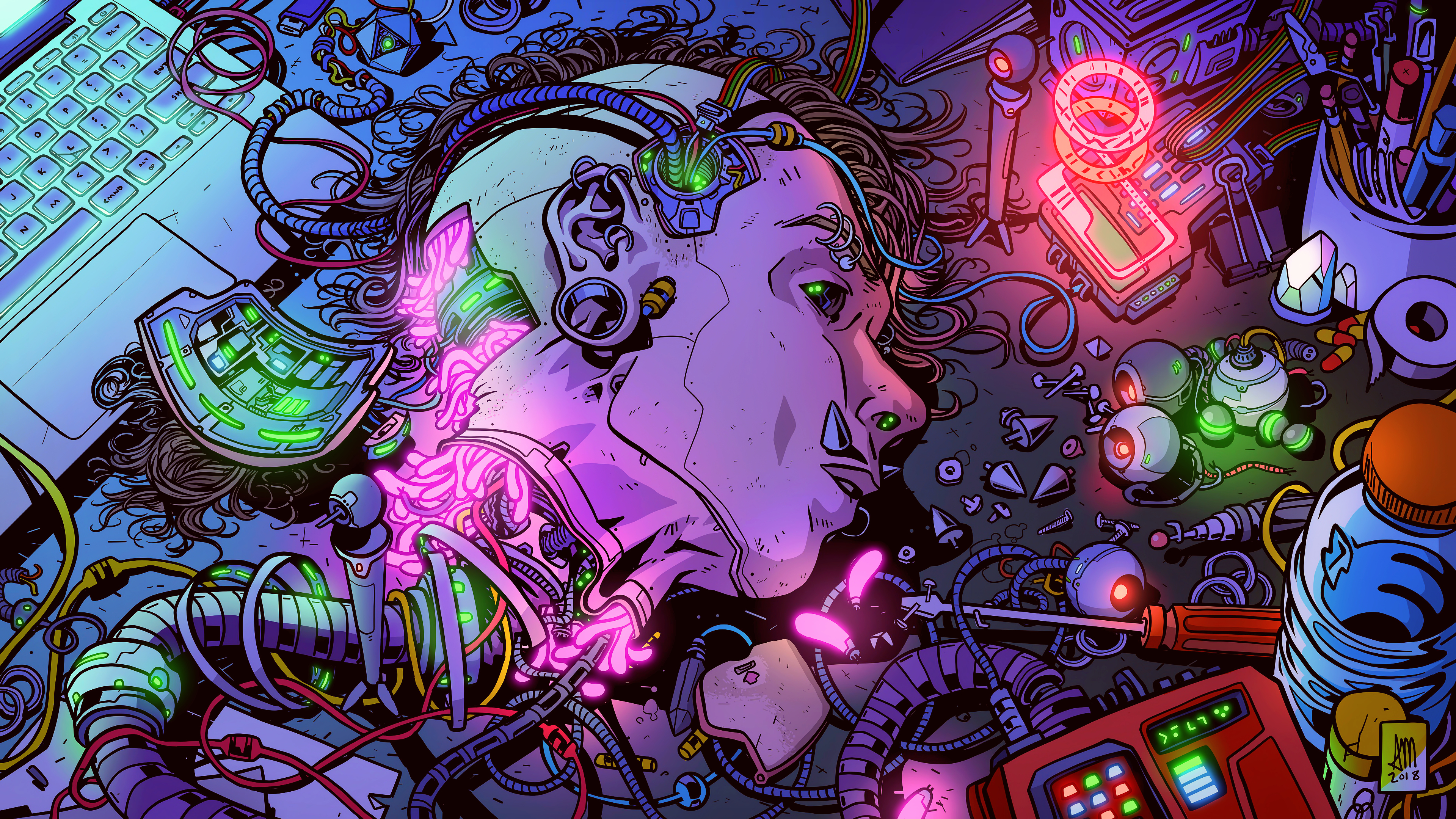 General 3840x2160 cyber science fiction digital art concept art cyberpunk artwork futuristic fantasy art fan art