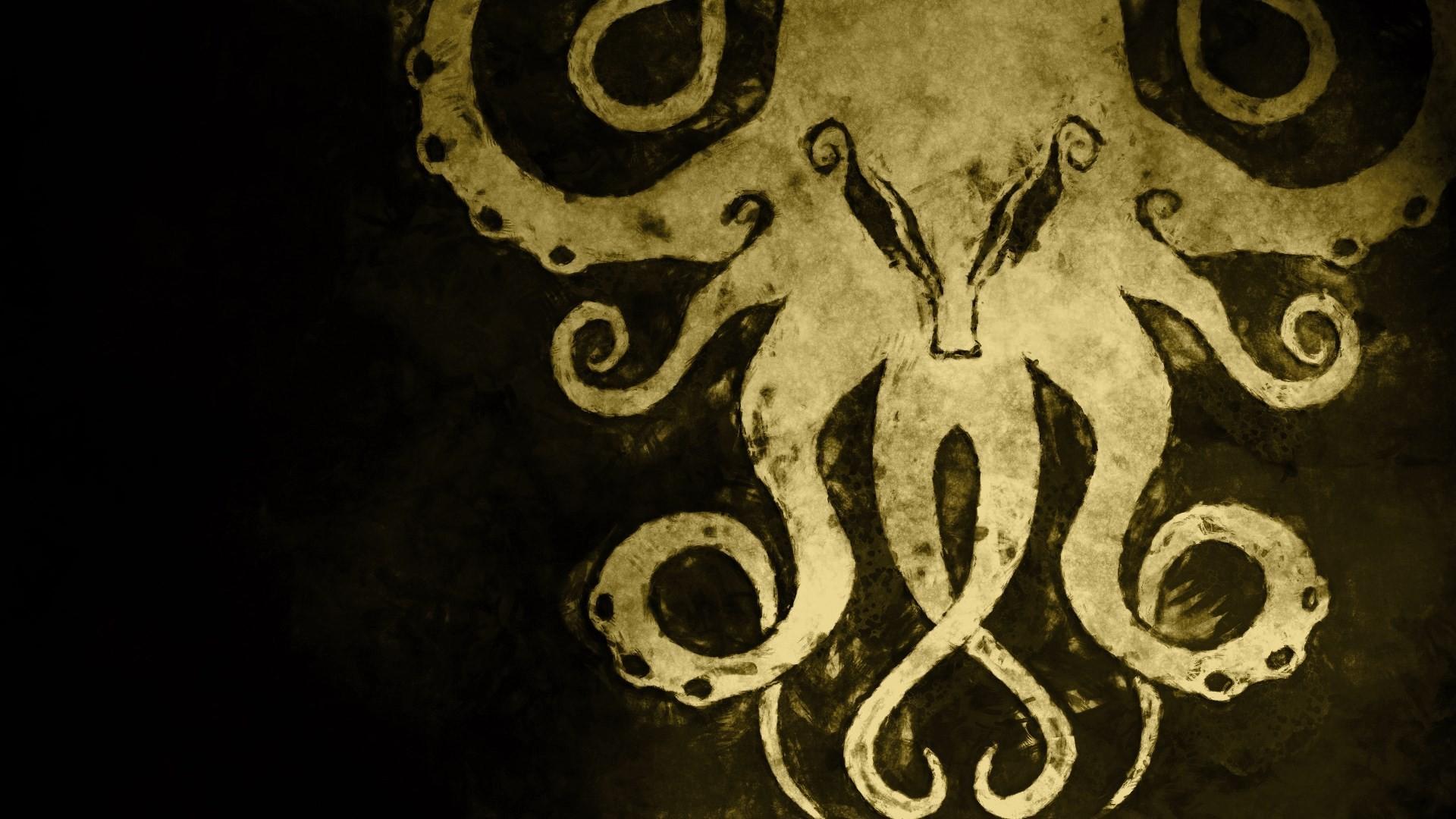 General 1920x1080 Cthulhu Cthulu dark background H. P. Lovecraft horror artwork tentacles