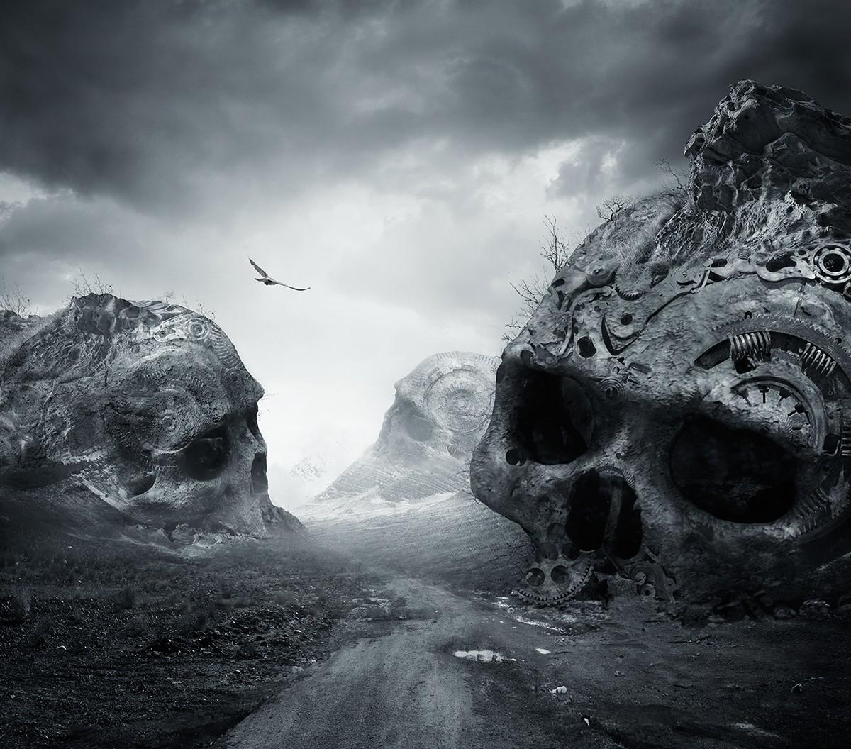 General 1200x1056 nature landscape dirtroad death monochrome birds flying dark skull photo manipulation