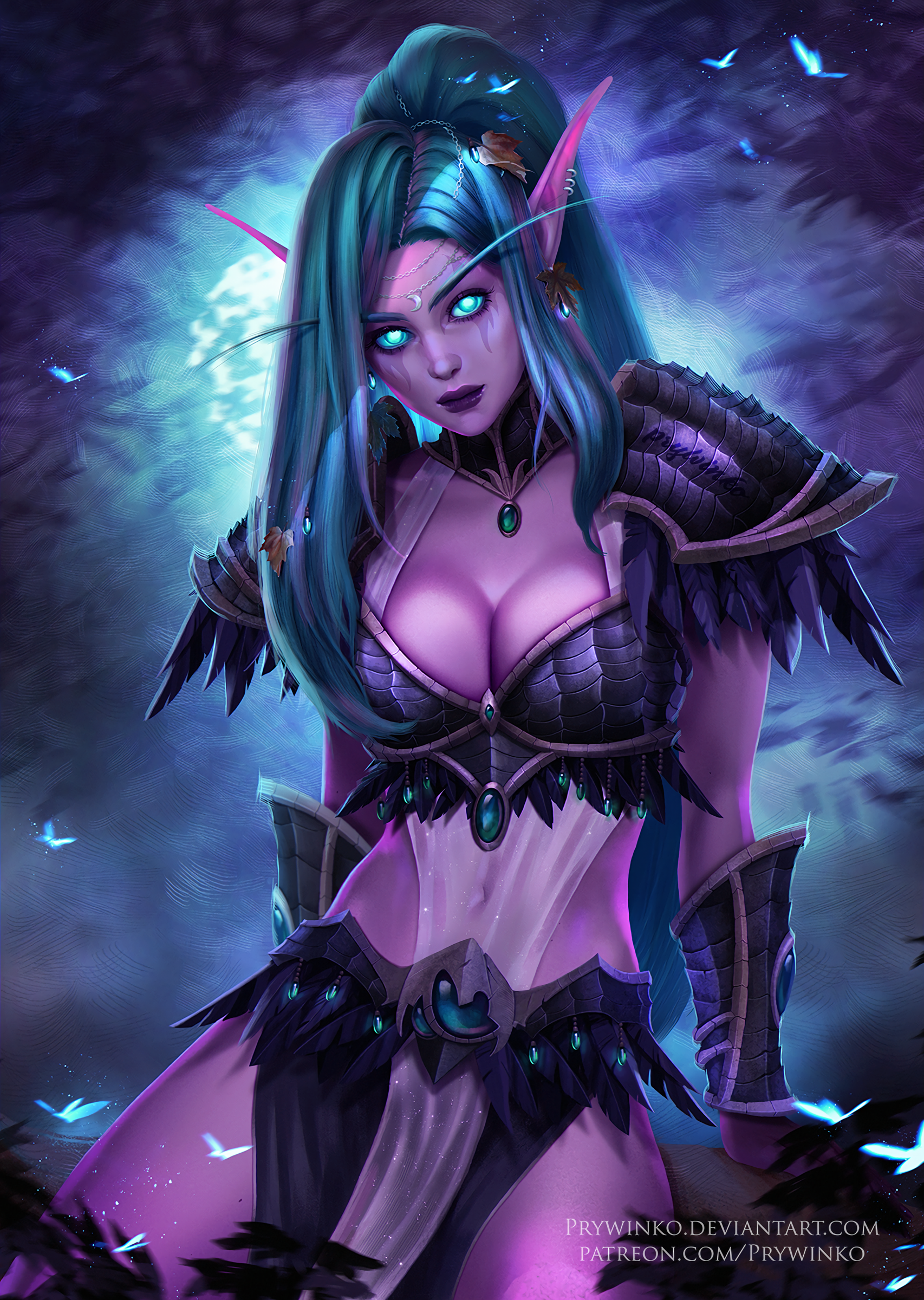 General 1706x2400 digital art artwork portrait display women looking at viewer thighs cleavage long hair video games blue eyes Warcraft Warcraft III World of Warcraft belly elven pointed ears blue hair Night Elves