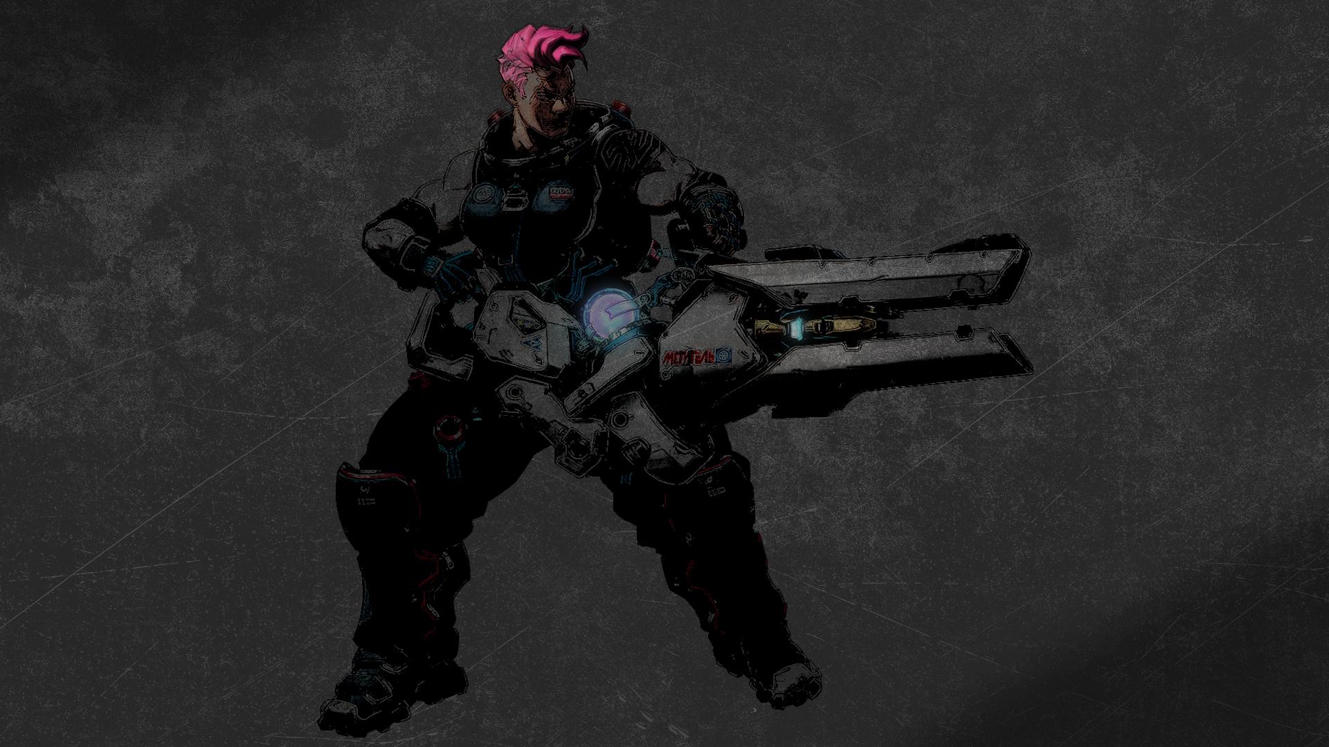 General 1920x1080 Overwatch Zarya (Overwatch) video game art pink hair video games