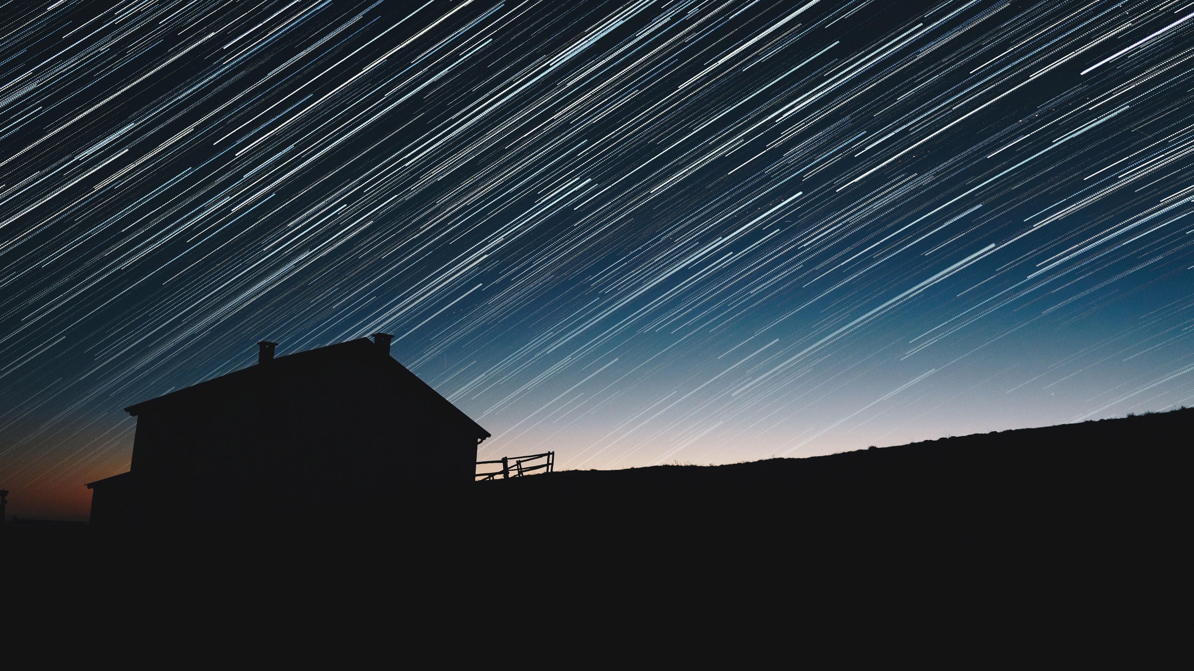 General 3840x2160 photography star trails silhouette sky house long exposure