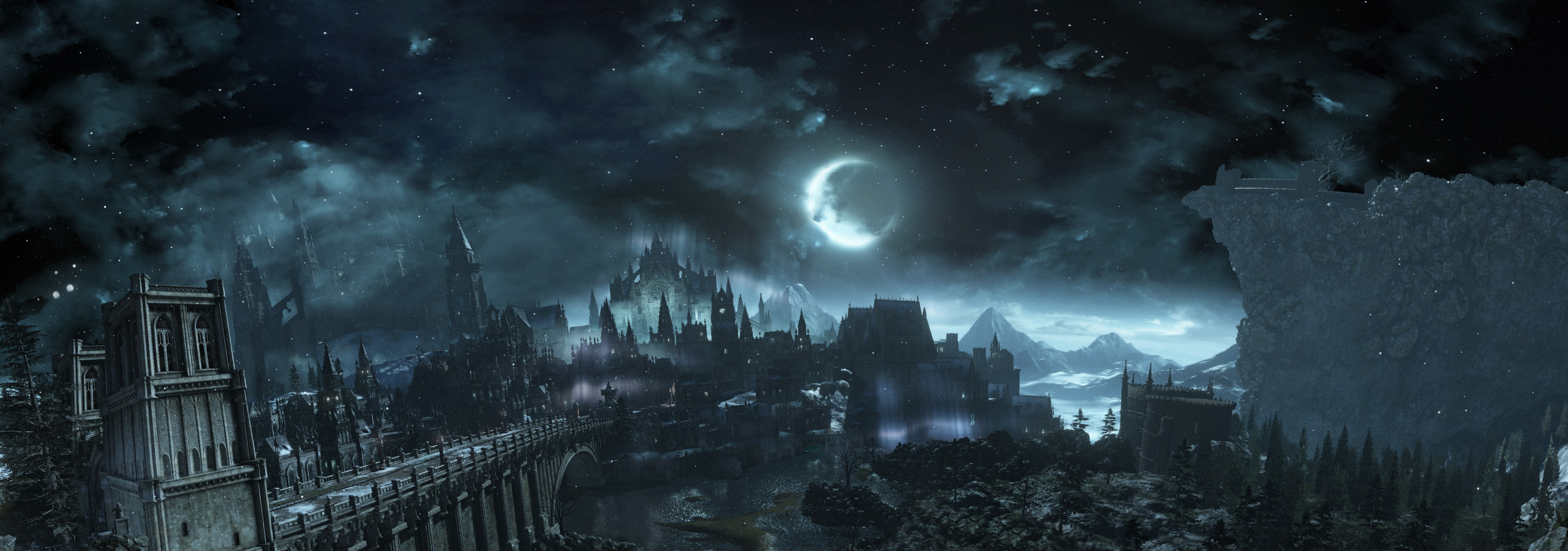 General 4096x1440 Dark Souls III Dark Souls castle dark fantasy night Moon video games sky clouds Irithyll