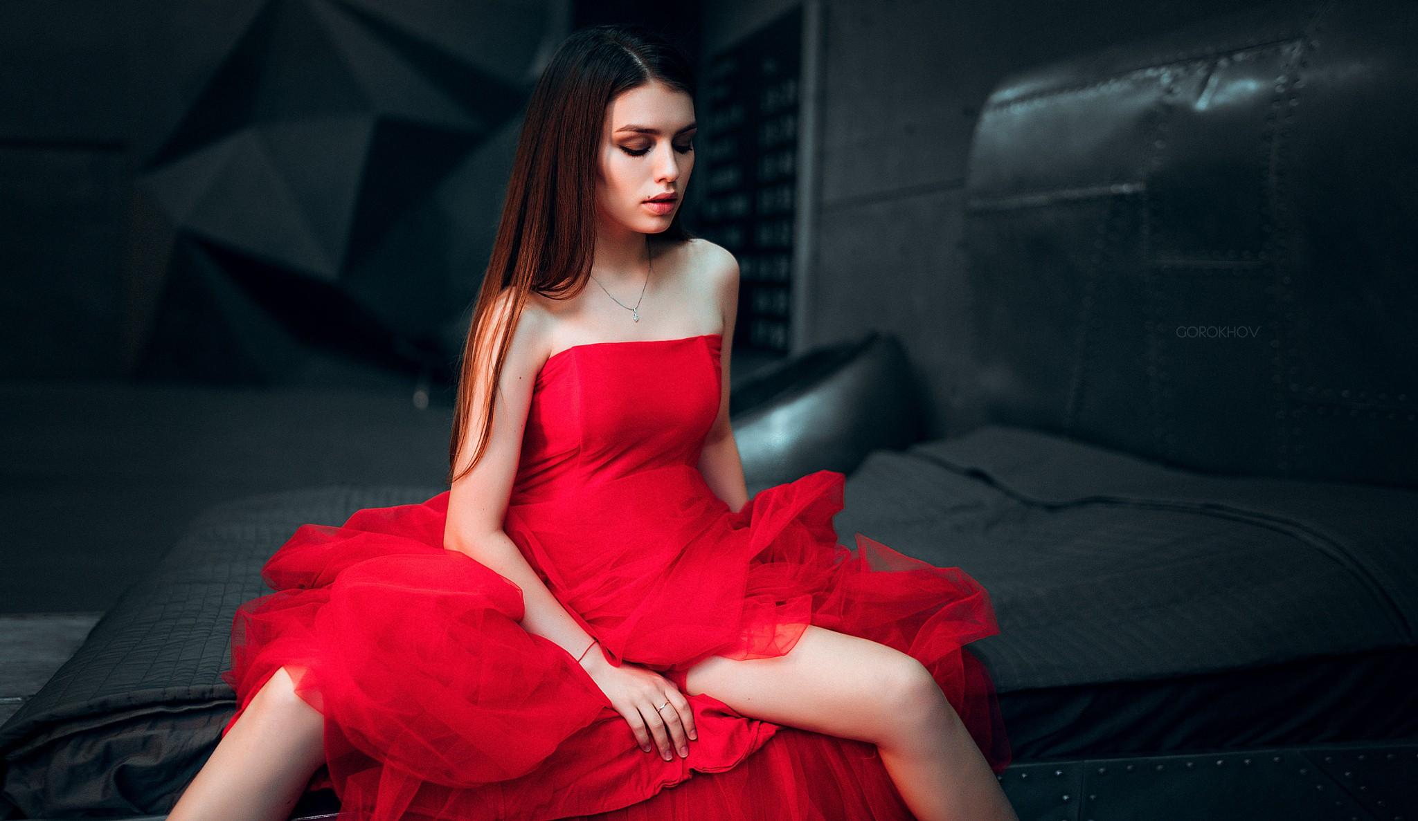 People 2048x1187 women Ivan Gorokhov model long hair brunette straight hair dress red dress legs bare shoulders Maria Way closed eyes
