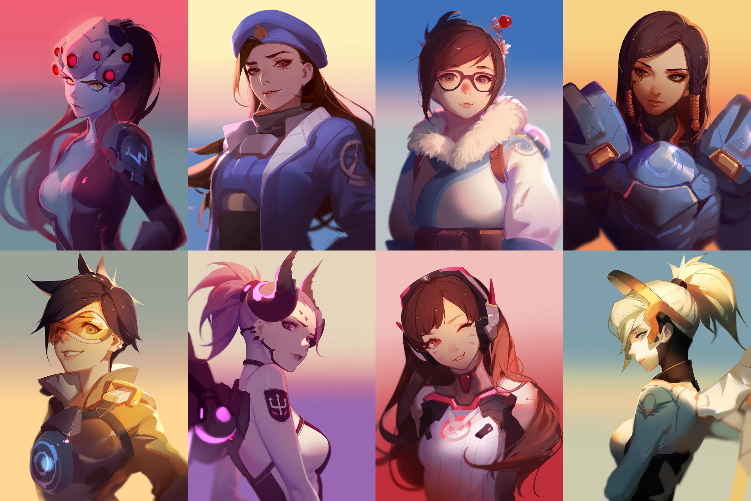 Anime 2400x1600 Ana (Overwatch) Pharah (Overwatch) Tracer (Overwatch) Mercy (Overwatch) Mei (Overwatch) Widowmaker (Overwatch) D.Va (Overwatch) Overwatch collage
