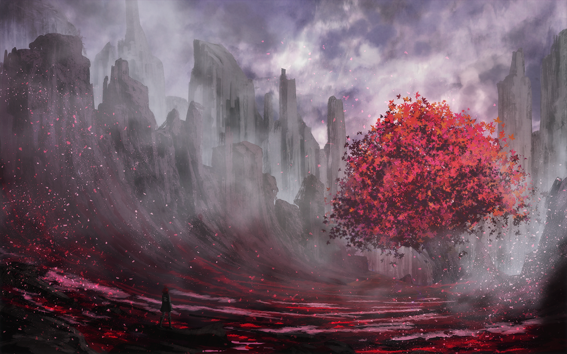 General 1920x1200 trees red fantasy art landscape