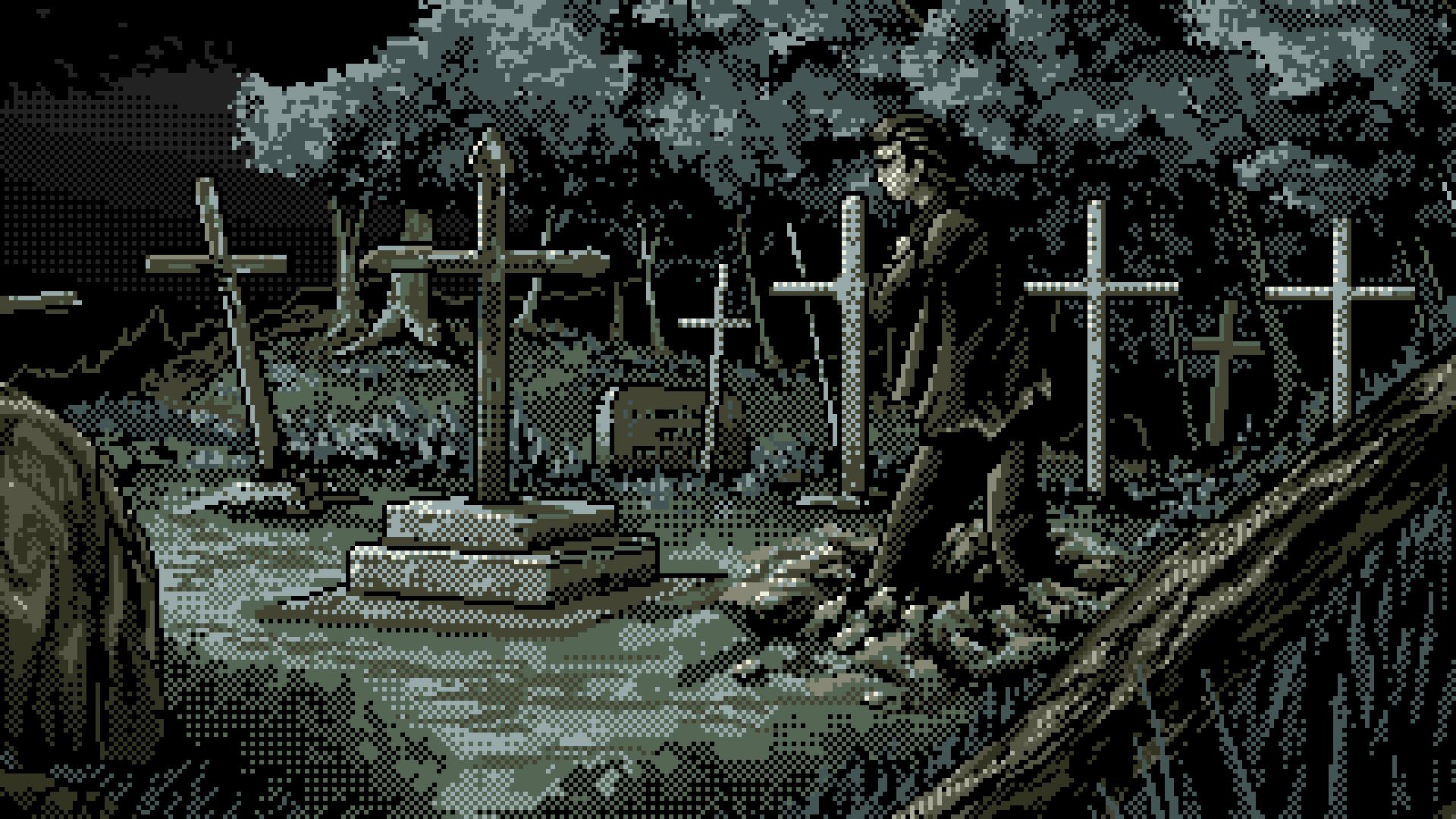 General 1920x1080 digital art pixel art pixelated pixels cross cemetery trees zombies grave night undead artwork spooky graveyards