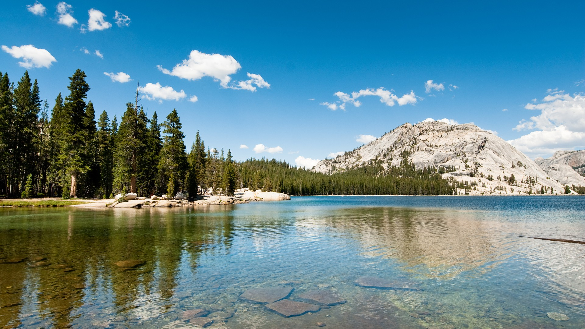General 1920x1080 landscape nature lake hills forest pine trees Yosemite National Park California