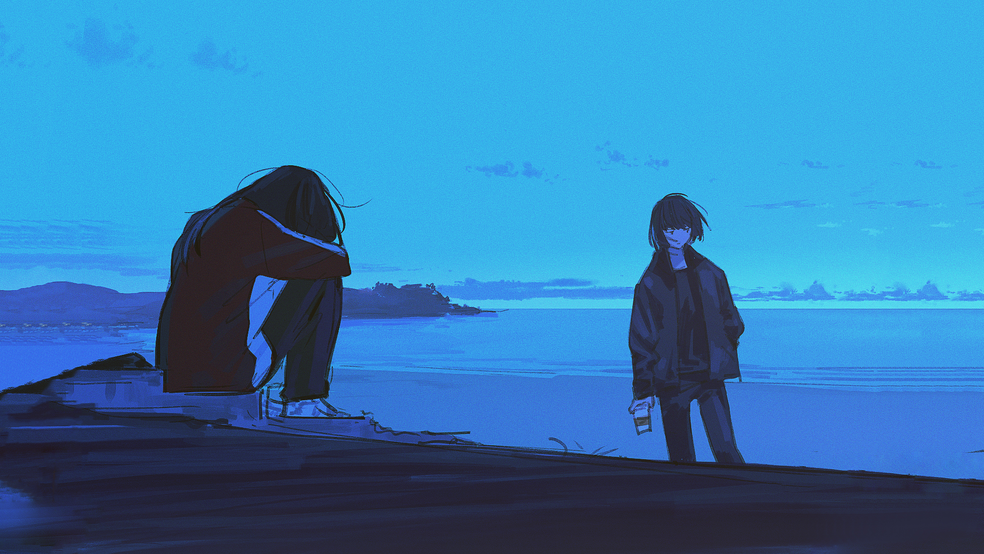 Anime 1973x1110 beach digital art blue sad landscape sea cyan minimalism simple