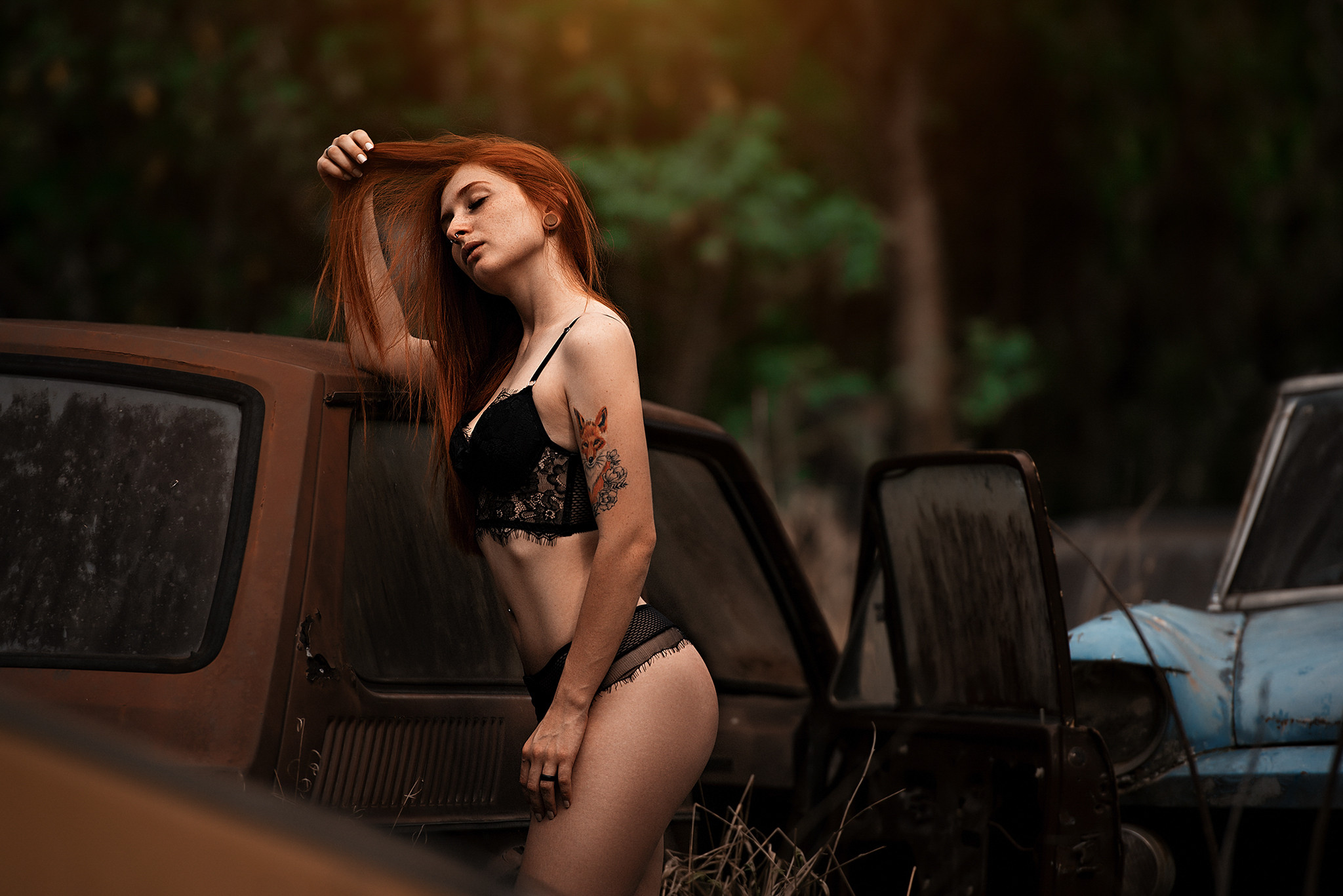 People 2048x1367 women model redhead lingerie black lingerie rust hands in hair pierced septum tattoo inked girls women outdoors closed eyes