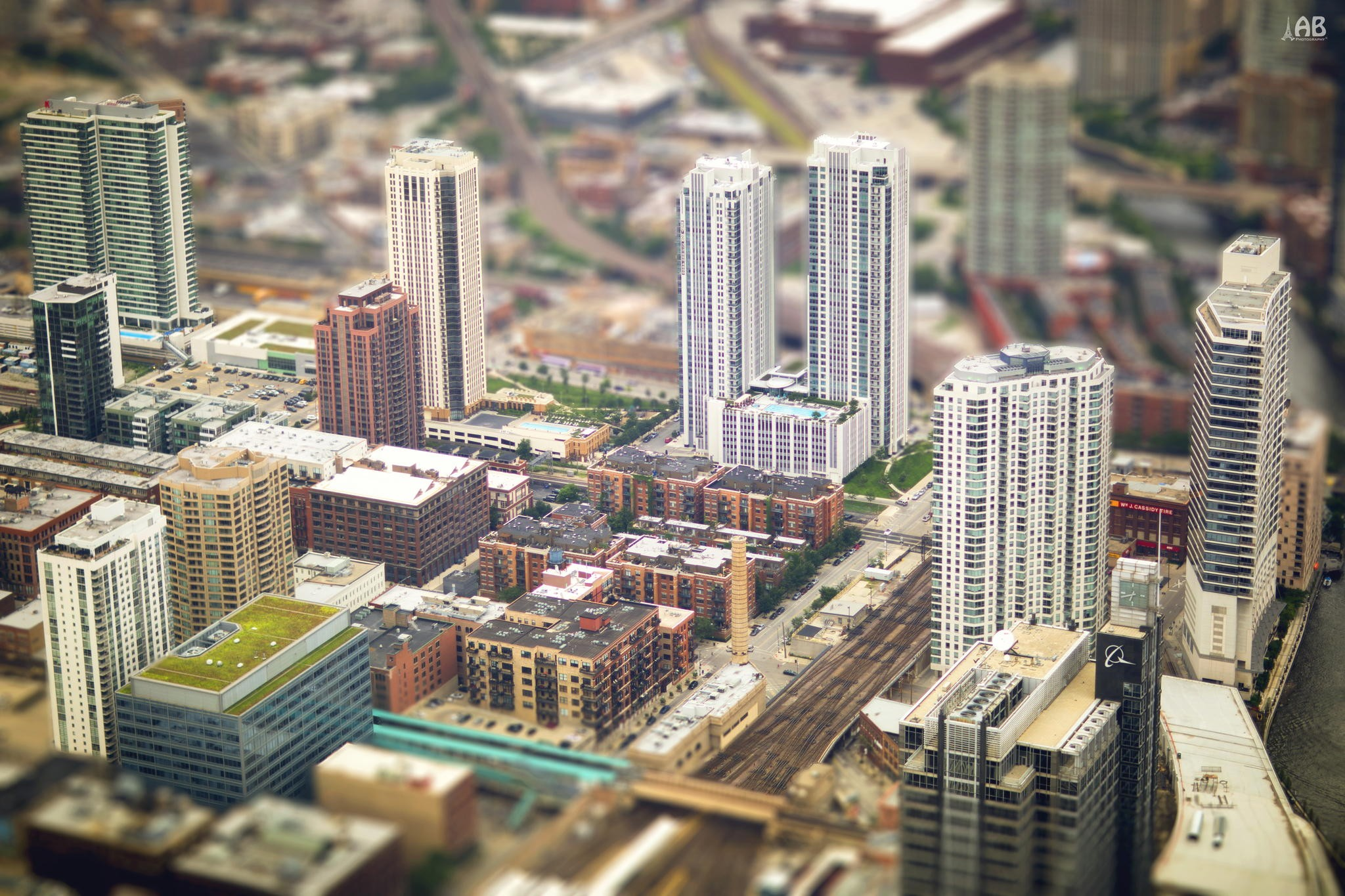 General 2048x1365 architecture building house tilt shift city Chicago USA street rooftops blurred cityscape road