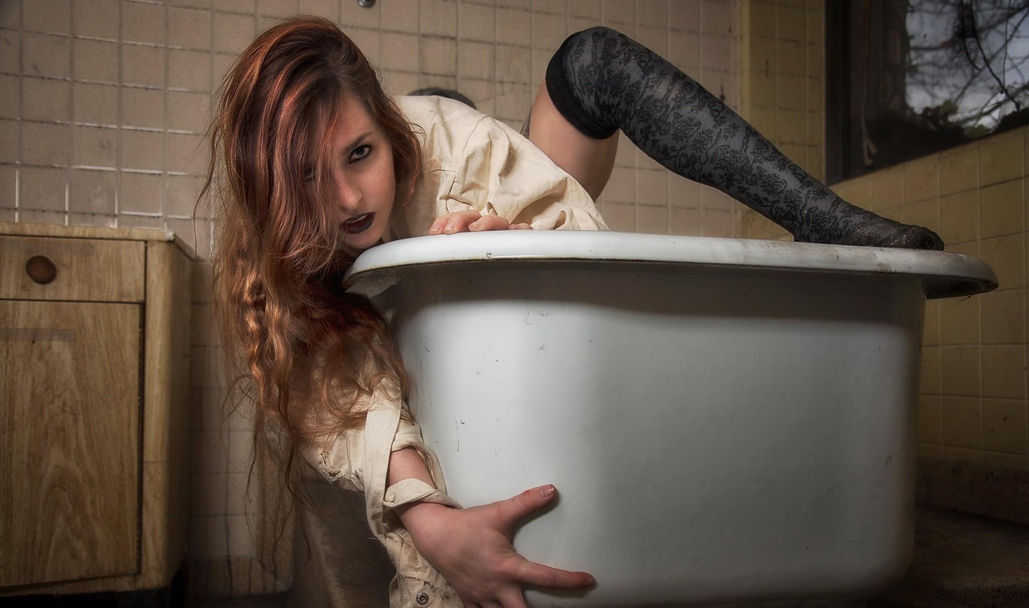People 2048x1211 women model redhead thigh-highs hair in face women indoors bathtub eyeliner