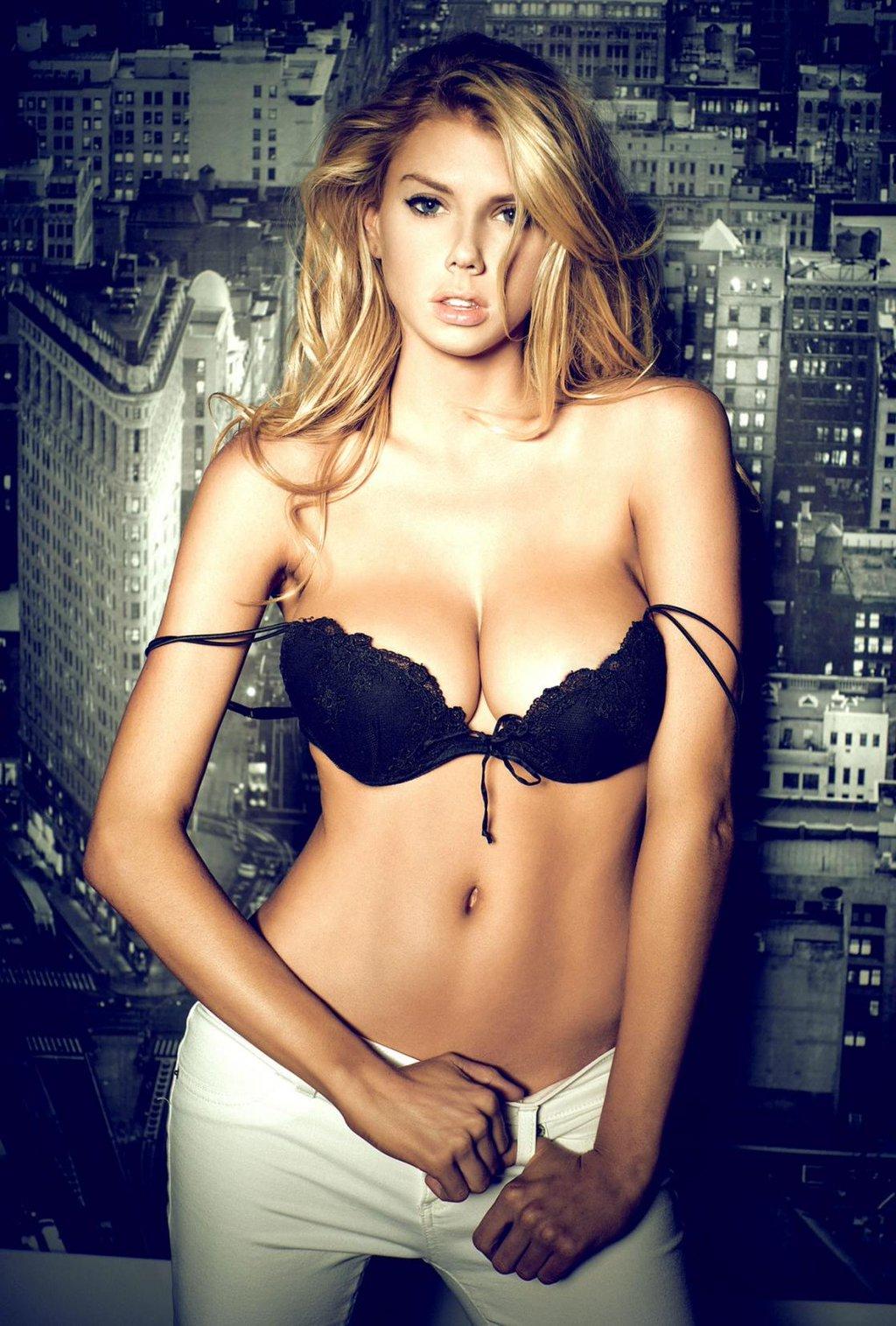 People 1024x1515 women model blonde long hair Charlotte McKinney belly lingerie black bras portrait display poster