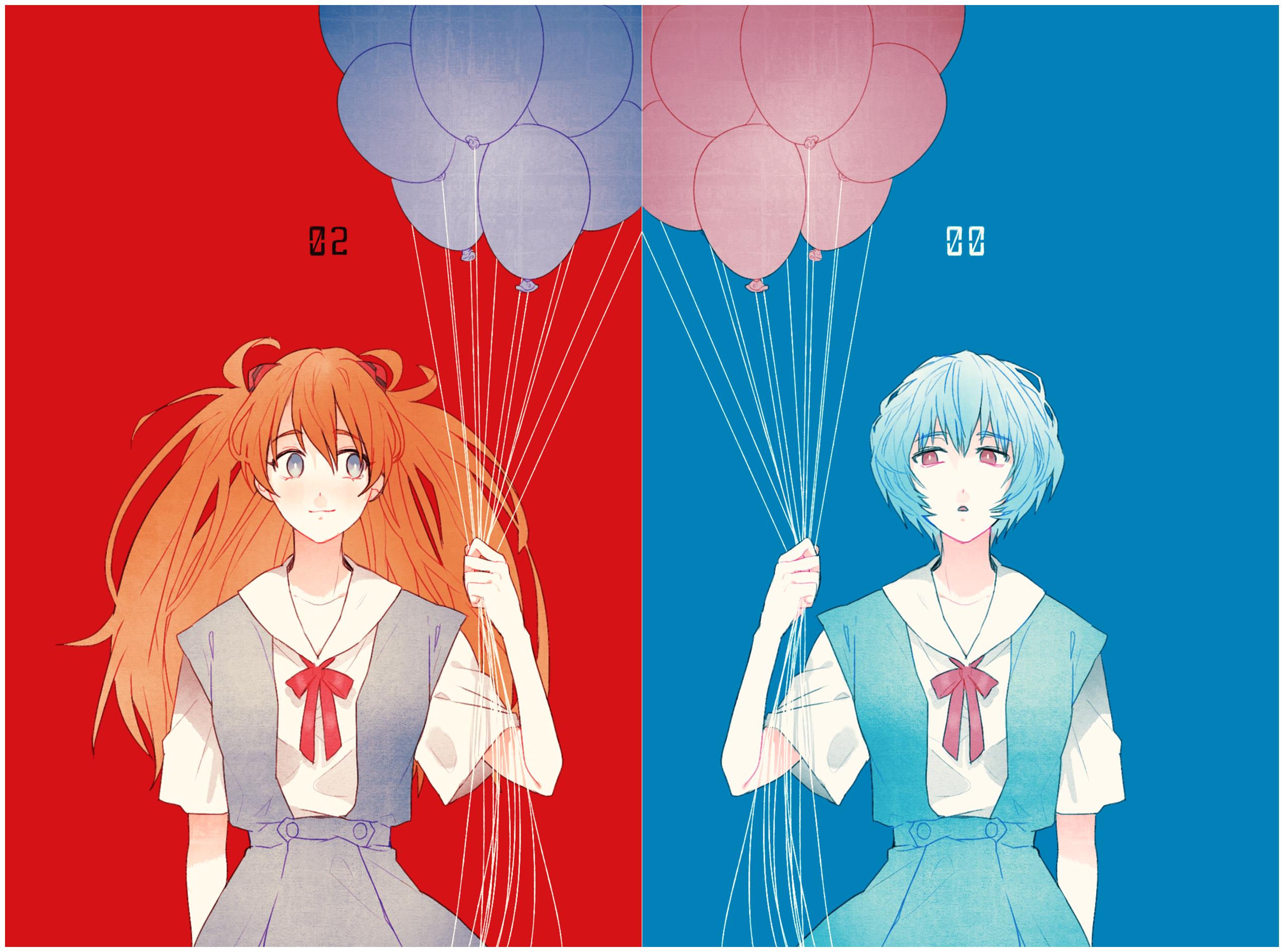 Anime 2549x1890 Neon Genesis Evangelion anime girls Ayanami Rei Asuka Langley Soryu