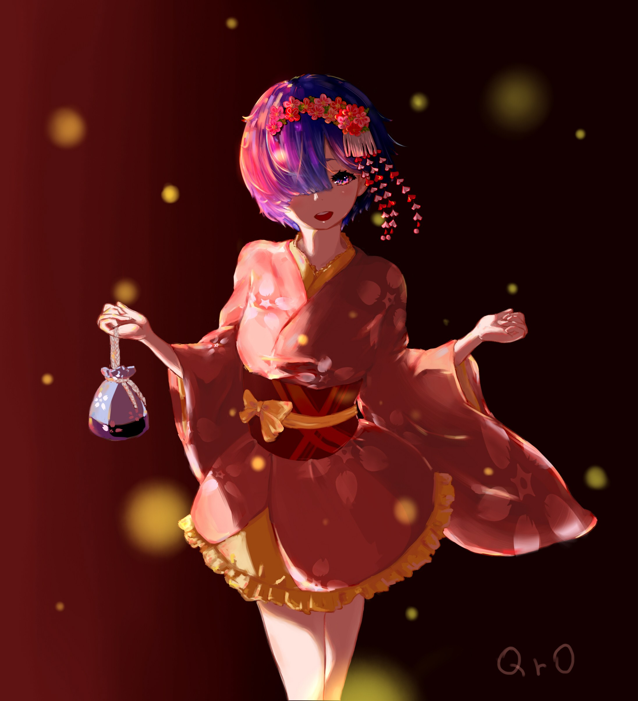 Anime 2192x2408 anime anime girls Re:Zero Kara Hajimeru Isekai Seikatsu Rem (Re: Zero) yukata short hair blue hair pink eyes kimono Japanese clothes