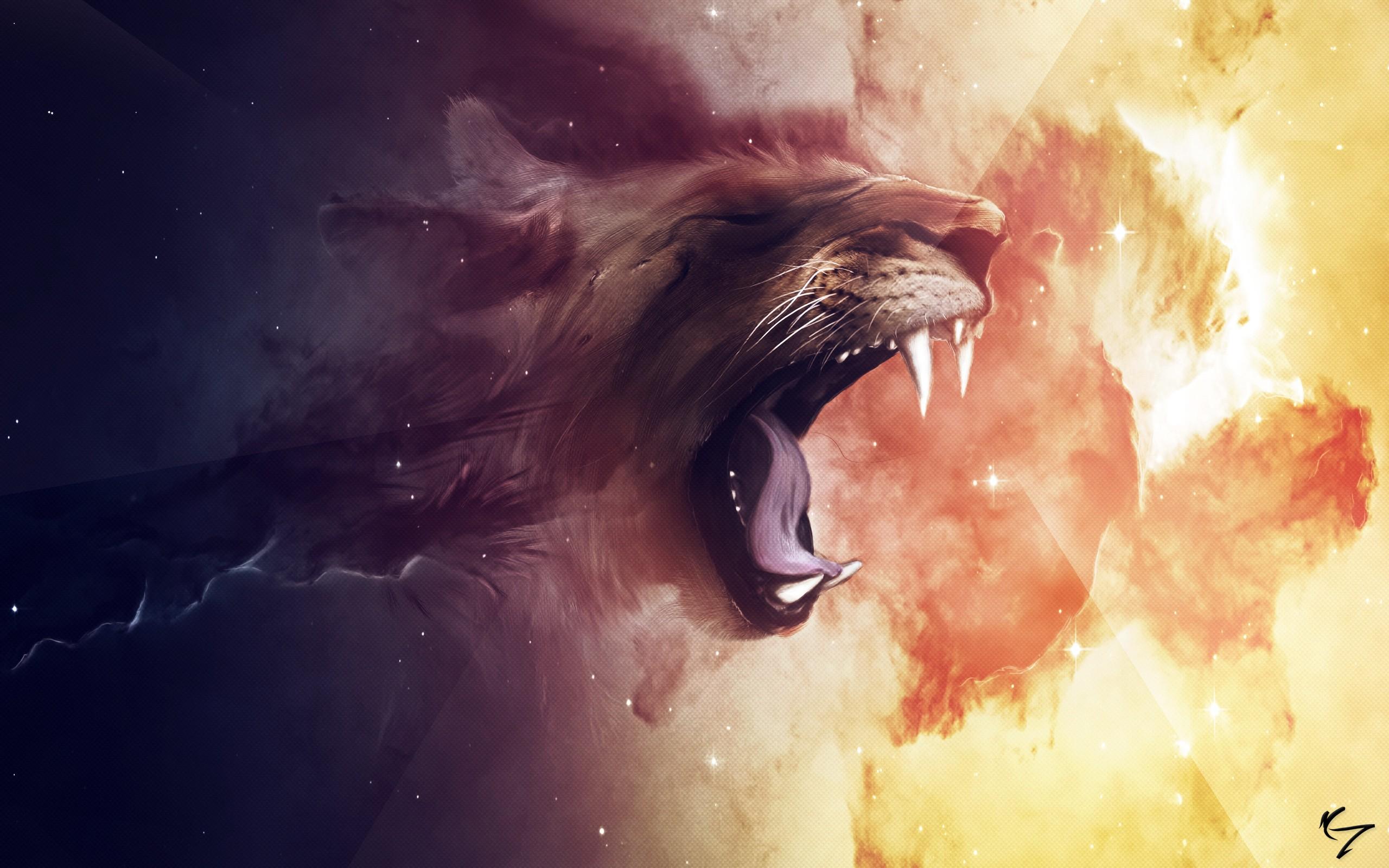 General 2560x1600 artwork fantasy art abstract space lion clouds stars animals Claudio Testa