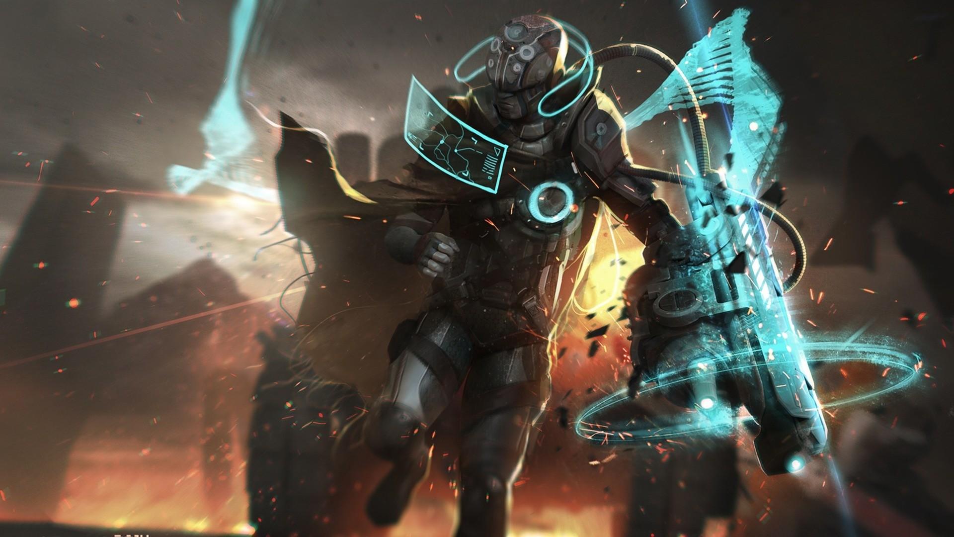 General 1920x1080 artwork futuristic armor science fiction digital art cyan