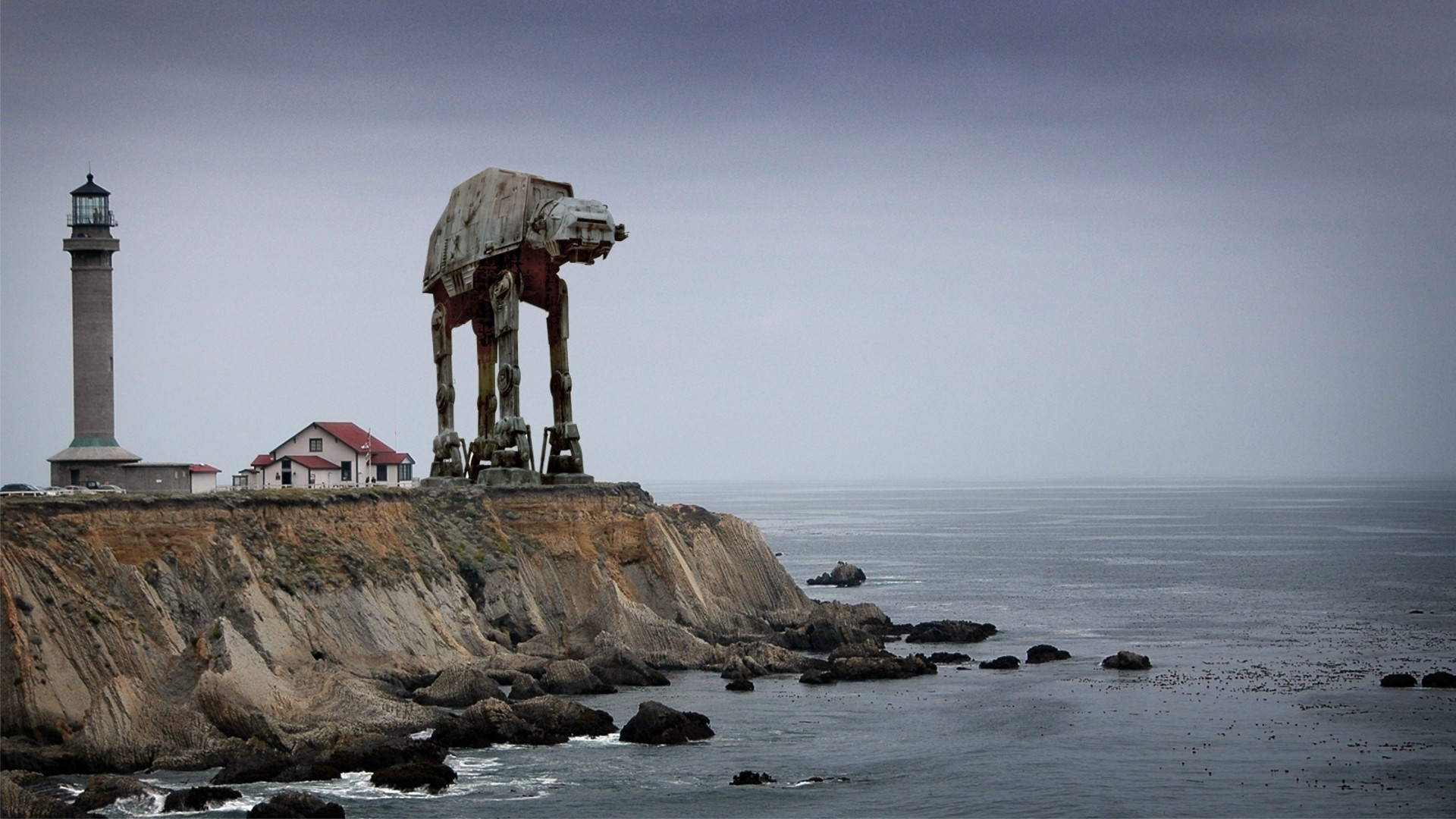 General 1920x1080 Star Wars AT-AT photo manipulation photomontage sea lighthouse Imperial Forces